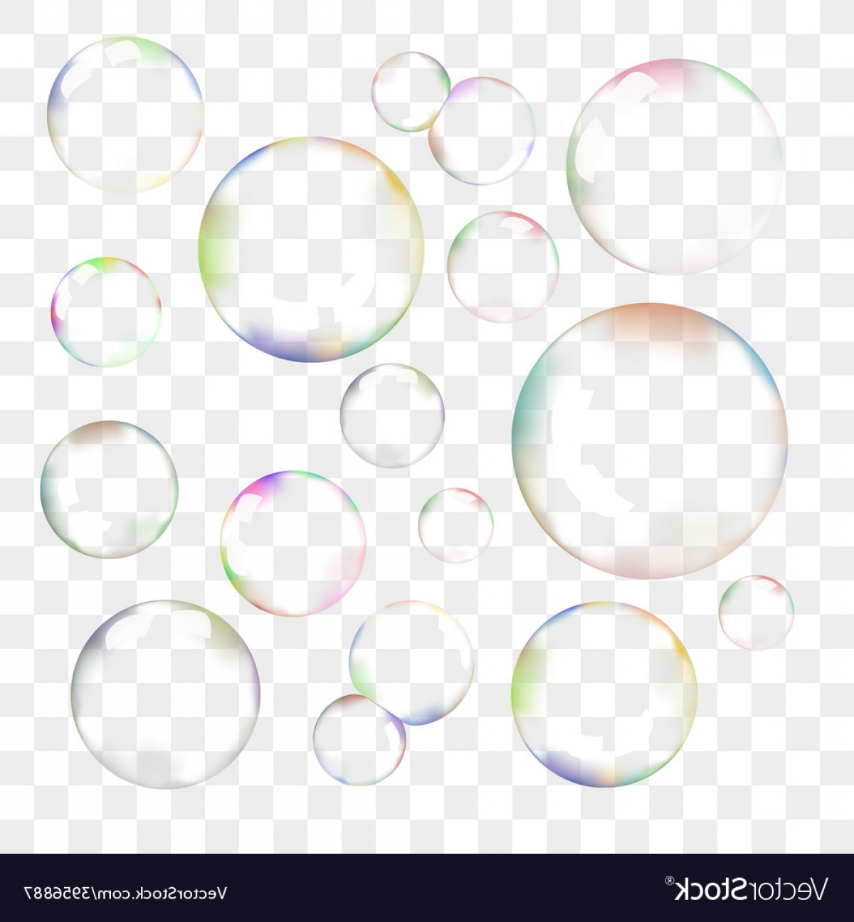 Vector Bubbles Circle: Set Of Transparent Soap Bubbles Vector