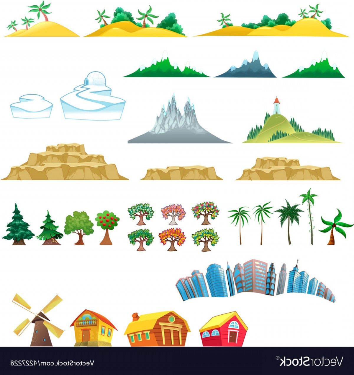 Vector Art Mountains Trees Colorado: Set Of Trees Mountains Hills Islands And Buildings Vector