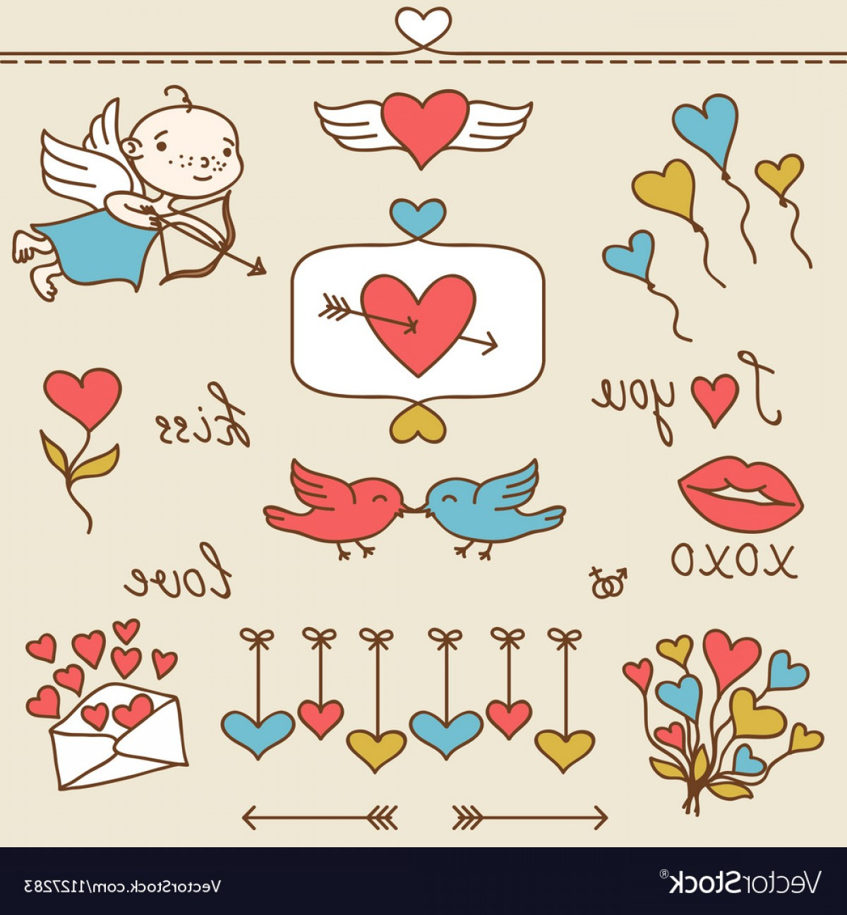 Cute Design Elements Vector Set: Set Of Valentines Cute Doodles And Design Elements Vector