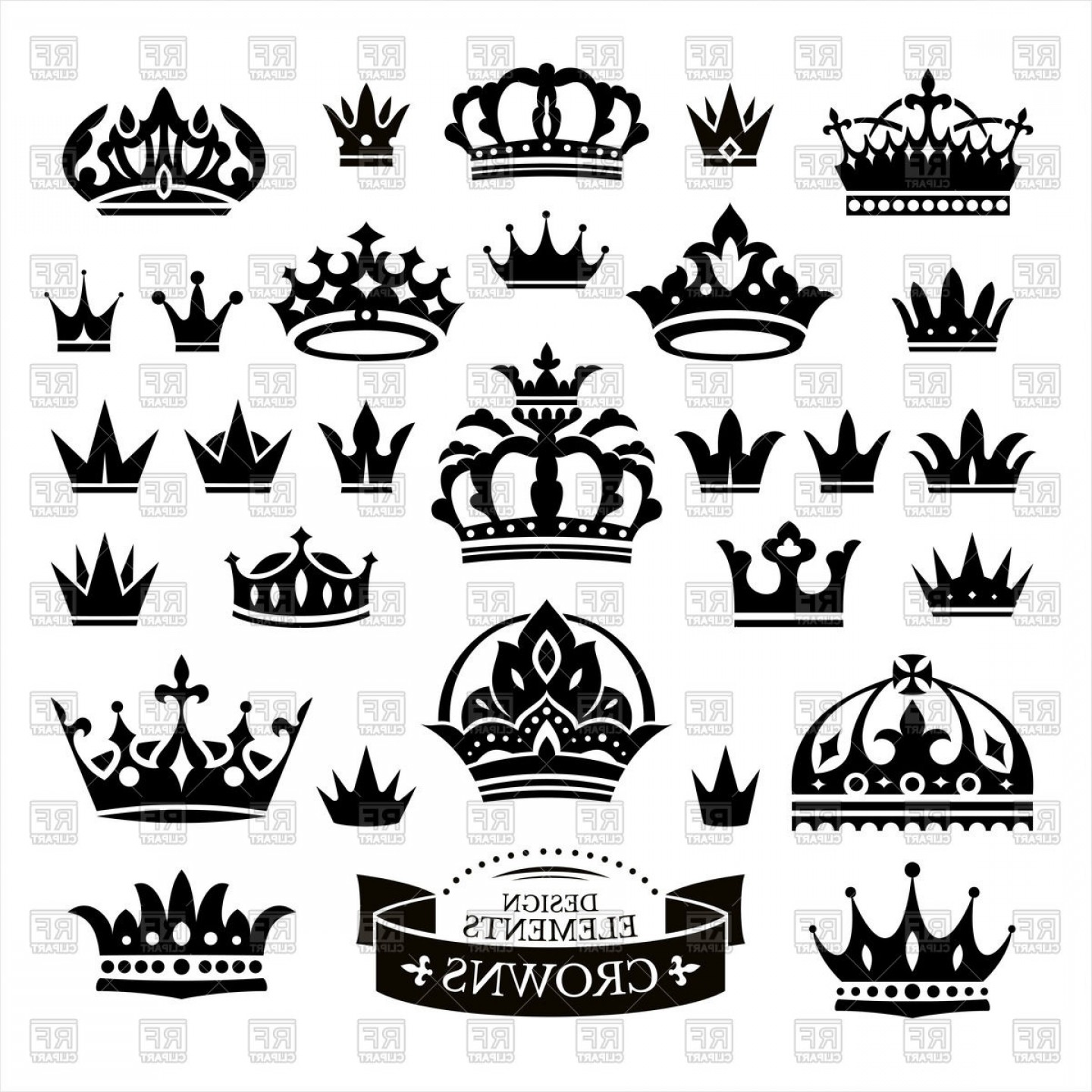Princess Crown Vector Graphic: Set Of Various Crowns Vector Clipart