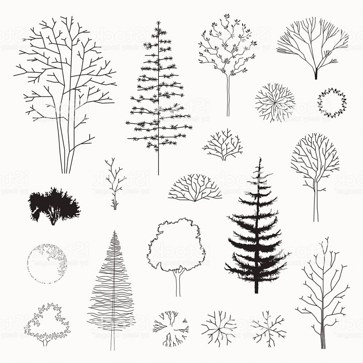 Tree Abstract Line Art And Vector: Set Of Vector Abstract Trees Line Design Gm