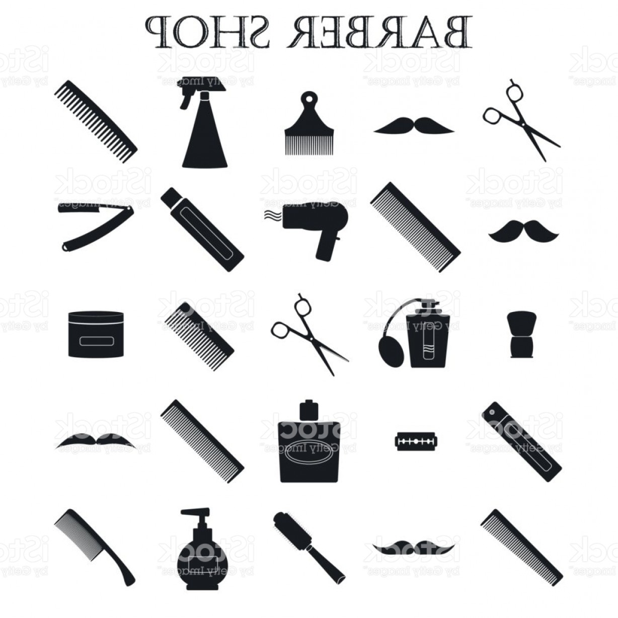 Barber Vector: Set Of Vector Icons Barber Gm