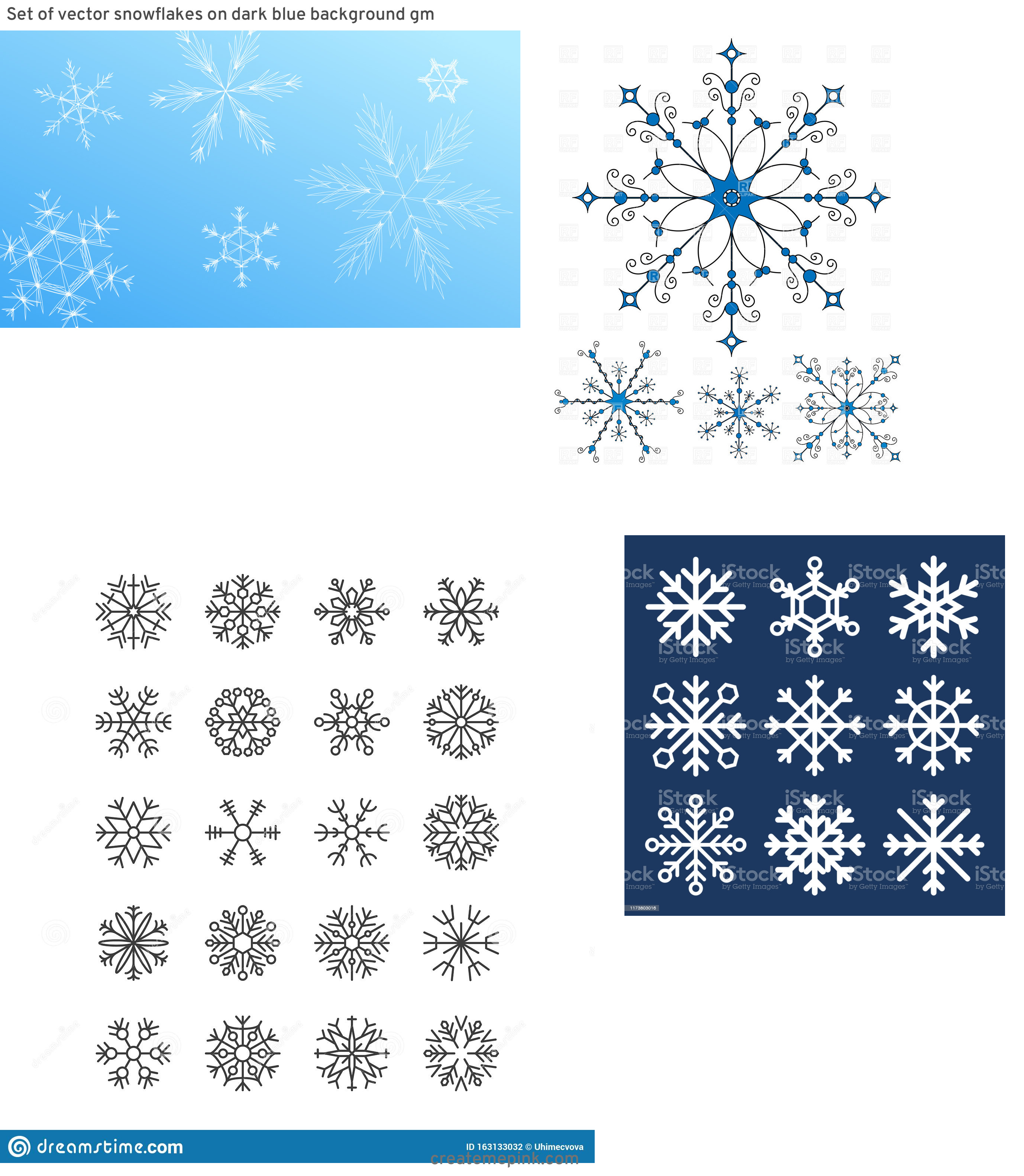 Free Vector Snow Flakes: Set Of Vector Snowflakes On Dark Blue Background Gm