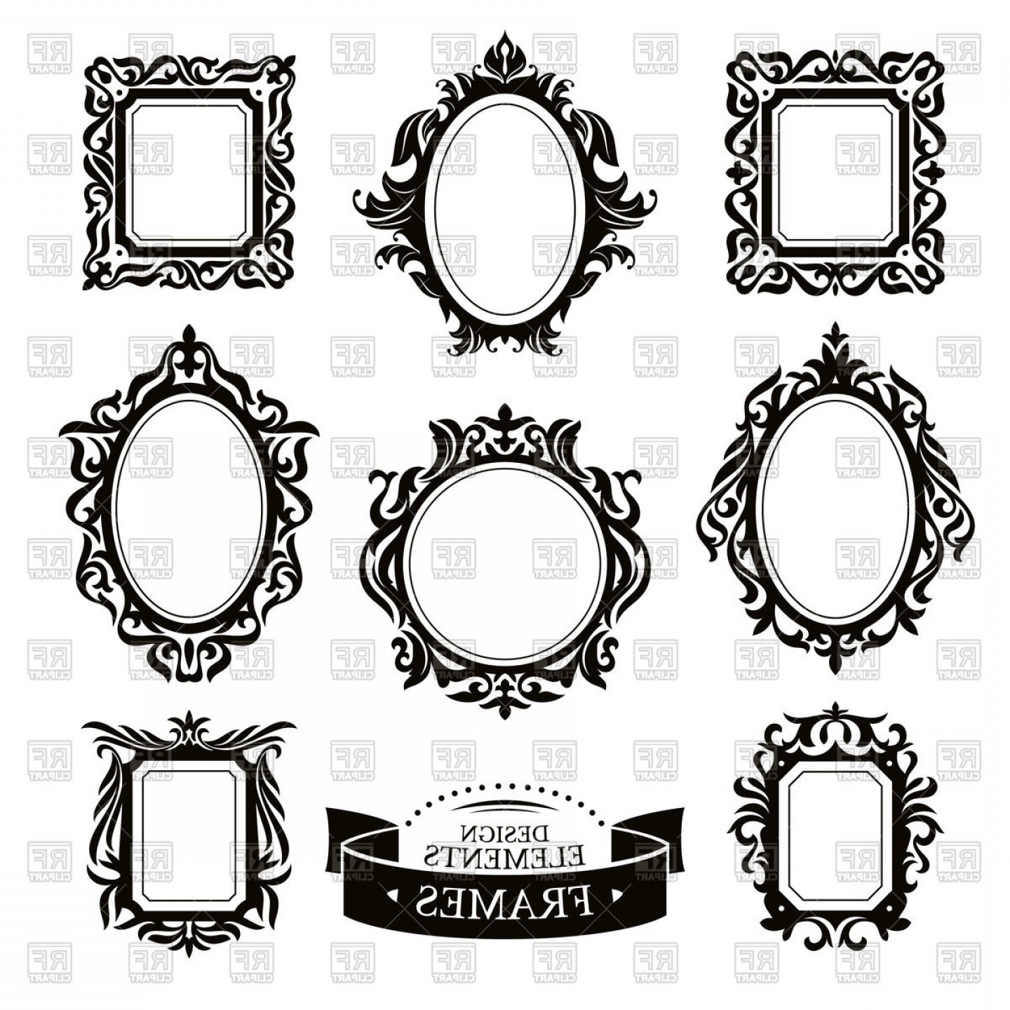 Set Of Vintage Baroque Frames Vector Clipart | CreateMePink