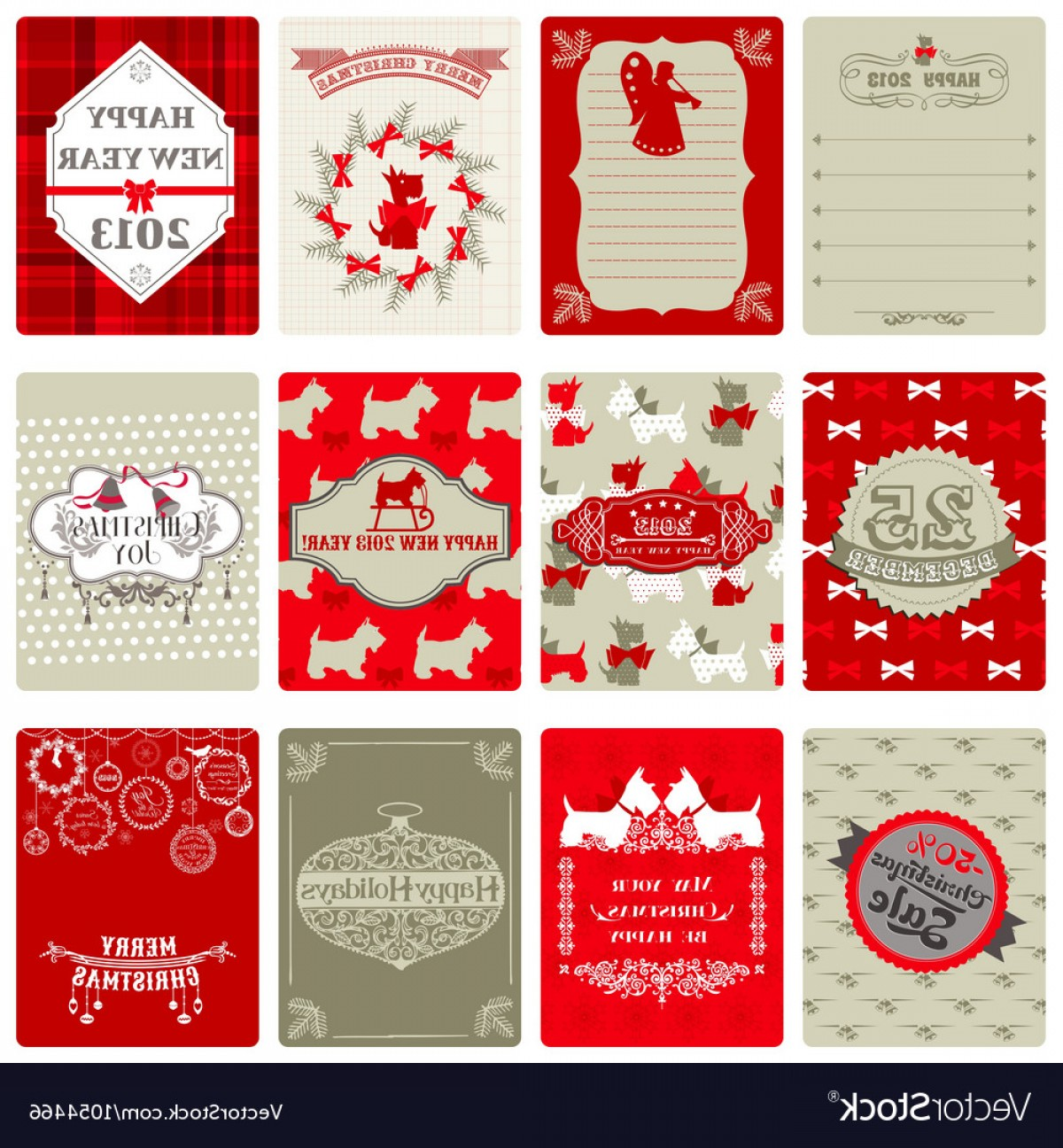 Vintage Xmas Sale Tag Vector: Set Of Vintage Christmas Tags Vector