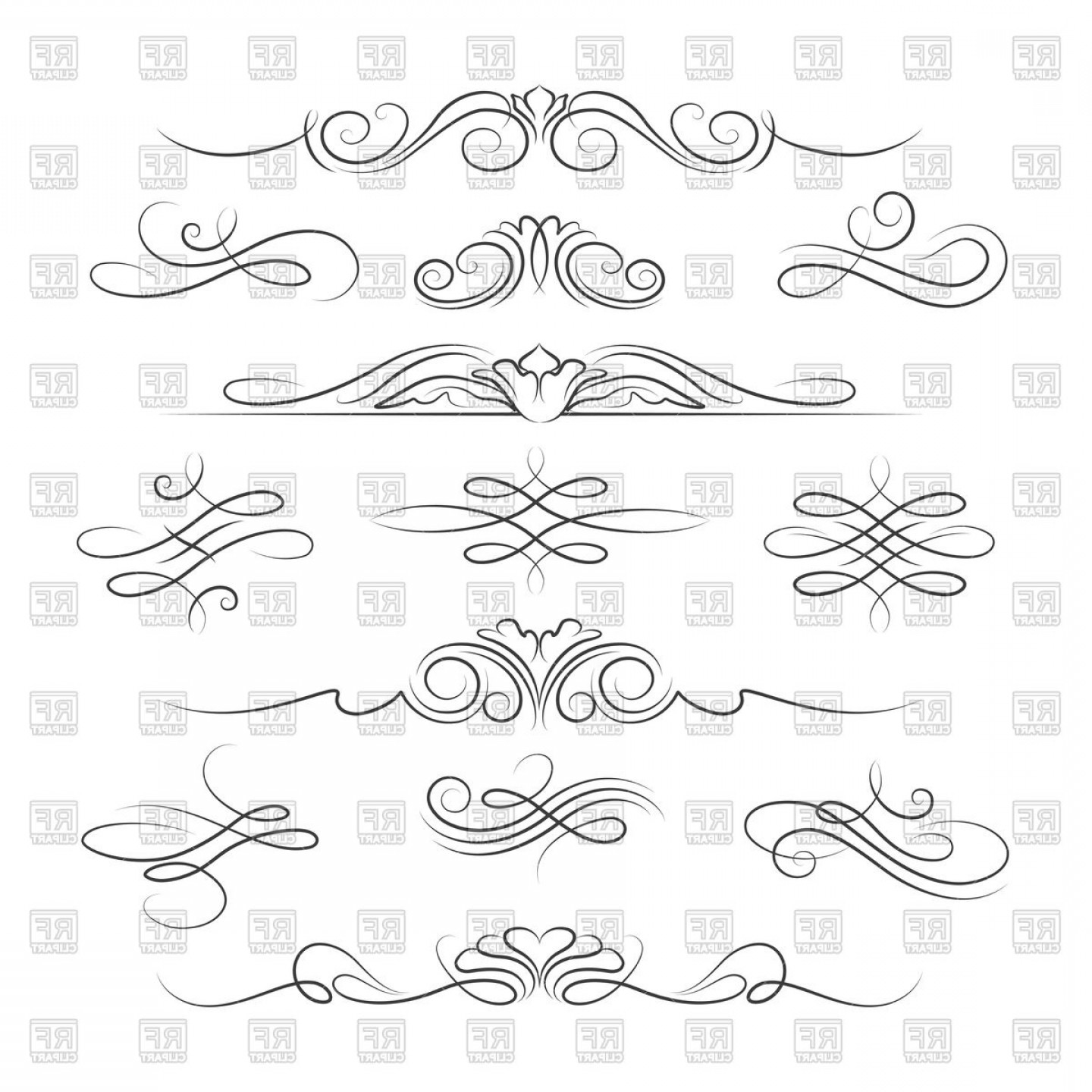 All Curvey Line Art Vector Free Download: Set Of Vintage Decoration Elements With Swirl And Curve Vector Clipart