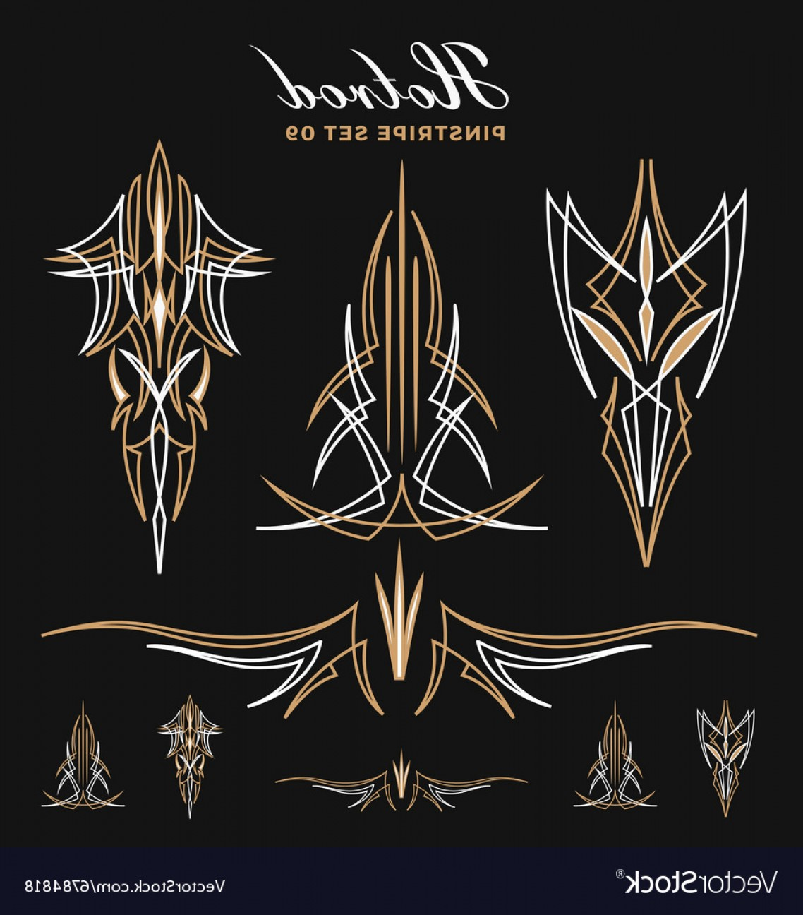 Pinstripe Vector Art: Set Of Vintage Pinstripe Line Art Vector