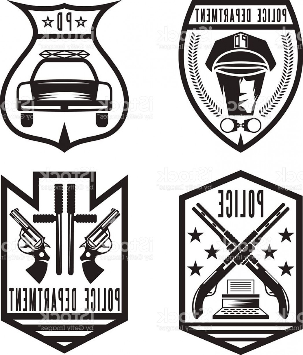 Law Enforcement Badges Vector: Set Of Vintage Police Law Enforcement Badges Gm