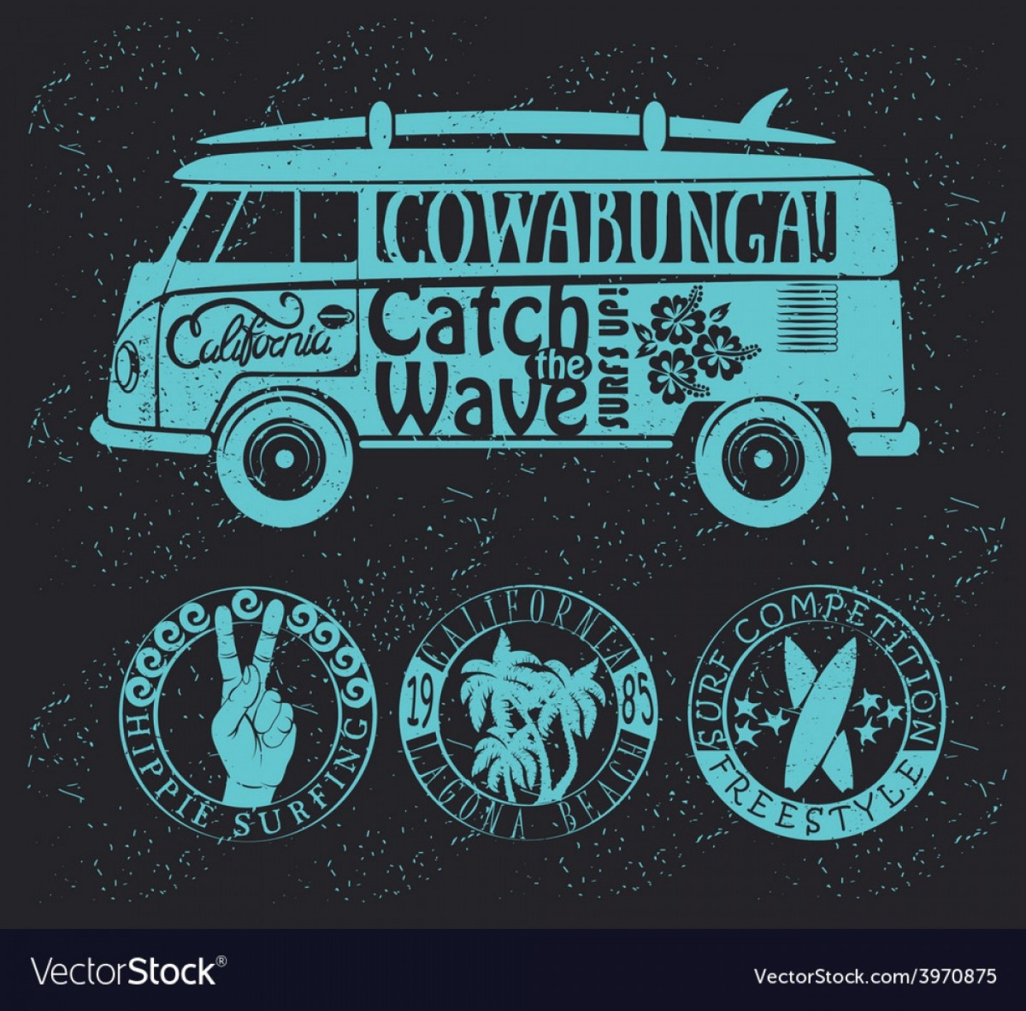 Volkswagen Bus Vector: Set Of Vintage Surfing Graphics And Emblems Vector
