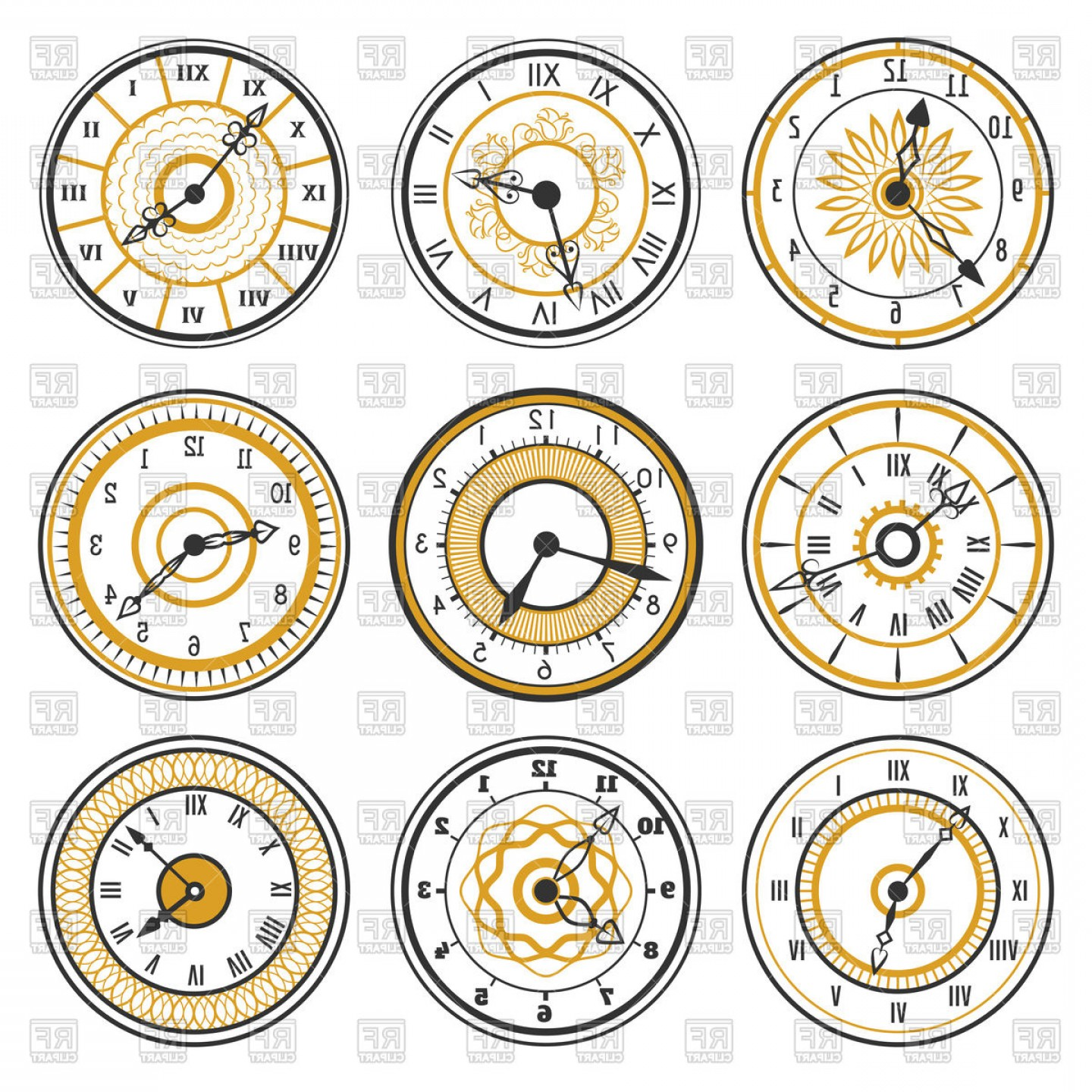 Watch Face Vector: Set Of Watch Face Icons On White Background Vector Clipart