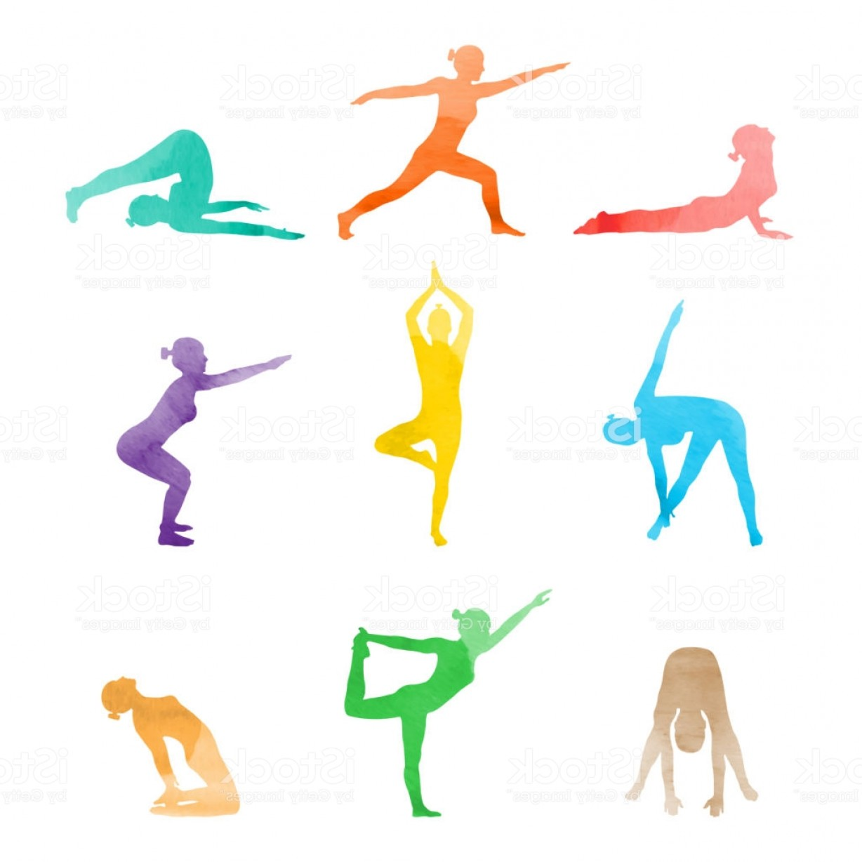 Pack 6 Vectorabs: Set Of Watercolor Woman In Various Yoga Poses Stretching Vector Gm