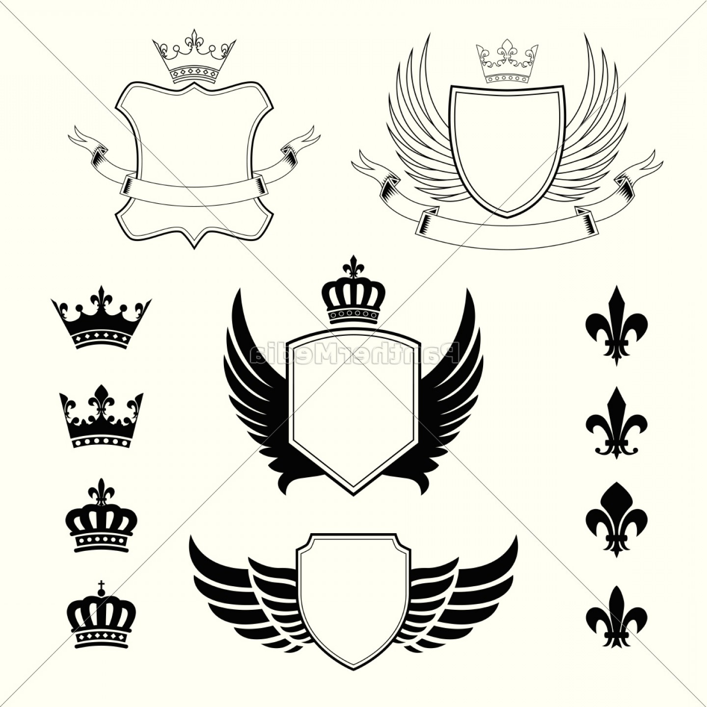 Crest And Coat Of Arms Vector Silhouette: Set Of Winged Shields Coat
