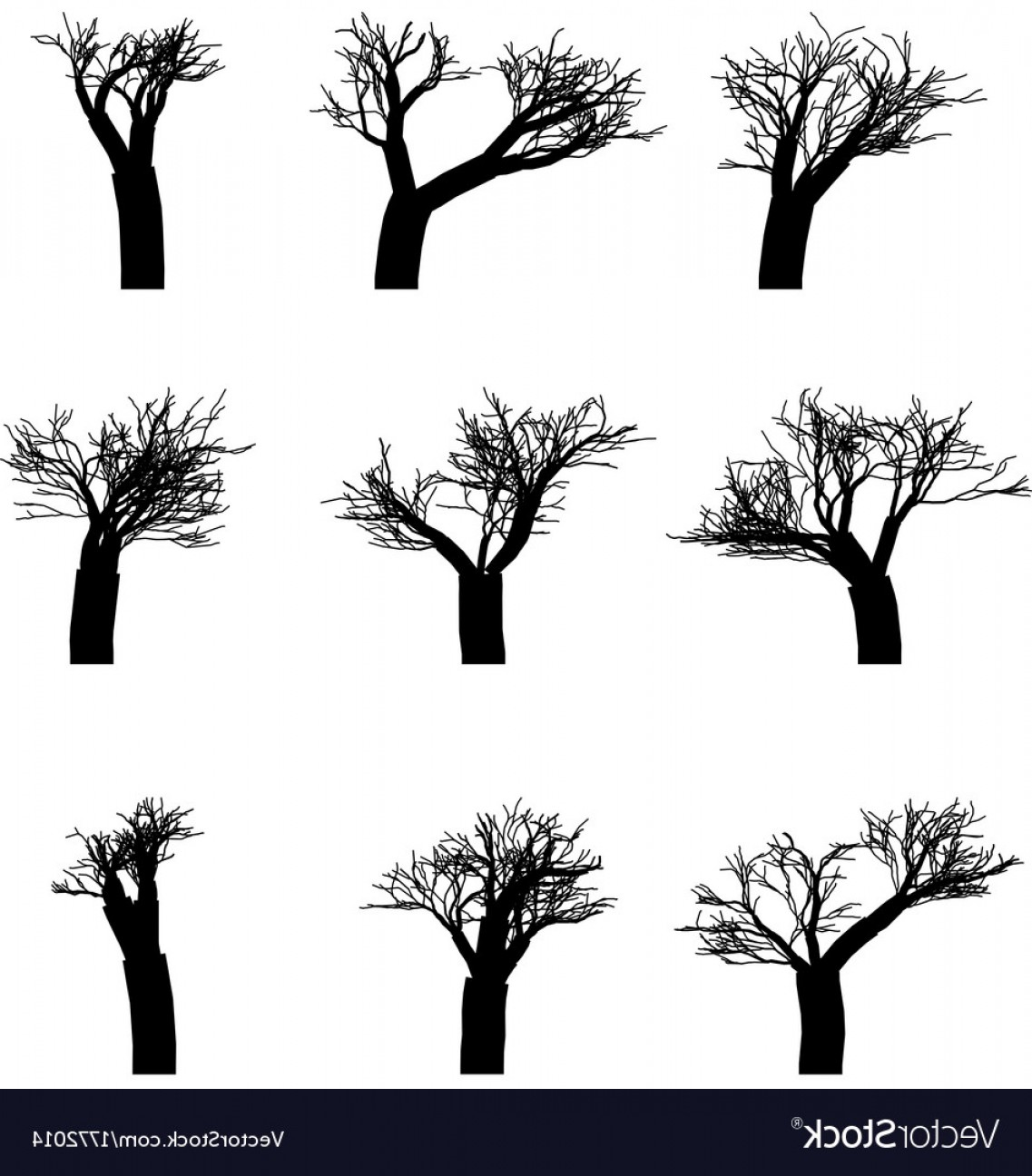 Winter Tree Silhouette Vector: Set Of Winter Trees Without Leaves Silhouettes Vector