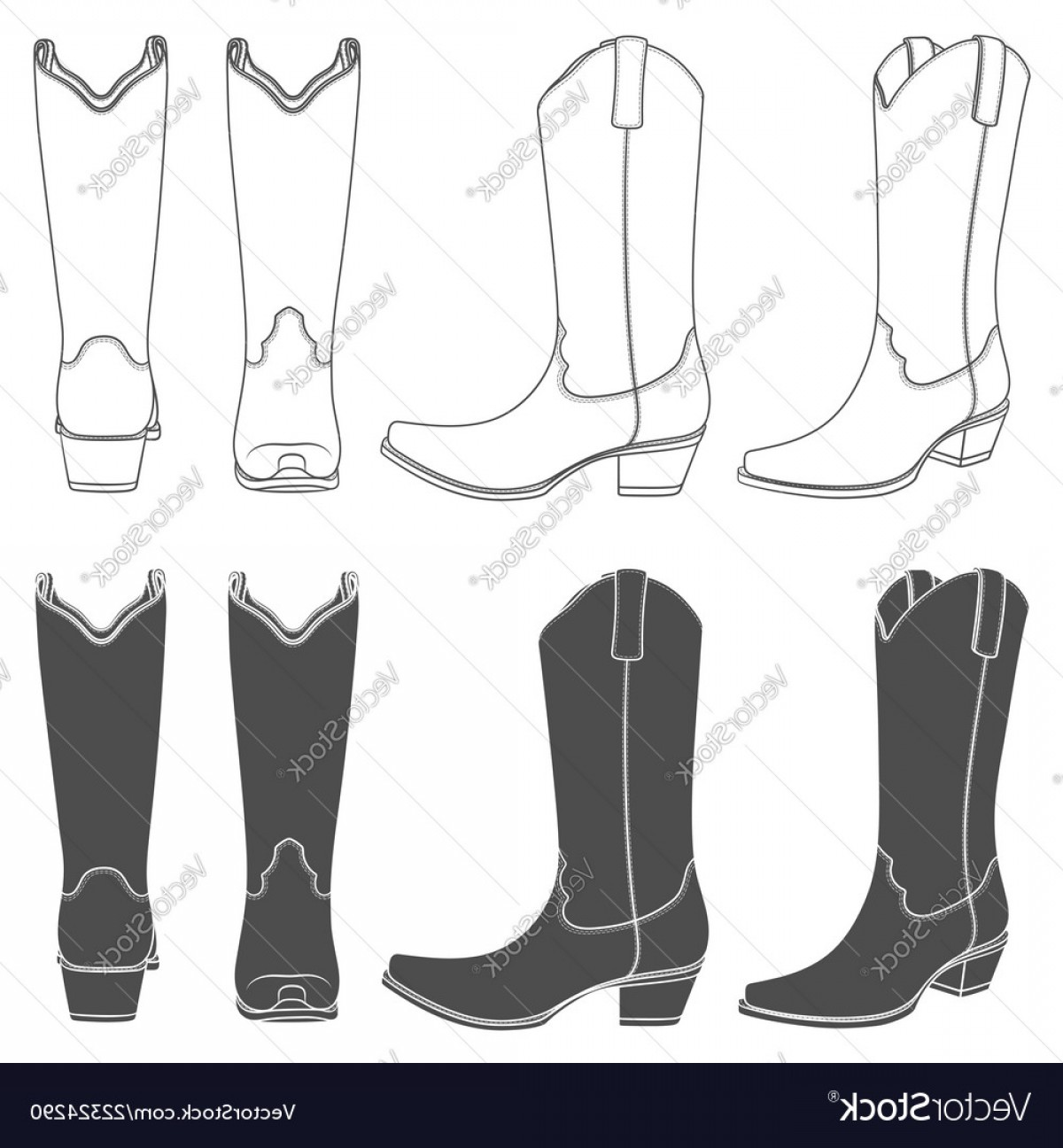 Two Cowgirl Boots Vector: Set Of With Cowboy Boots Vector