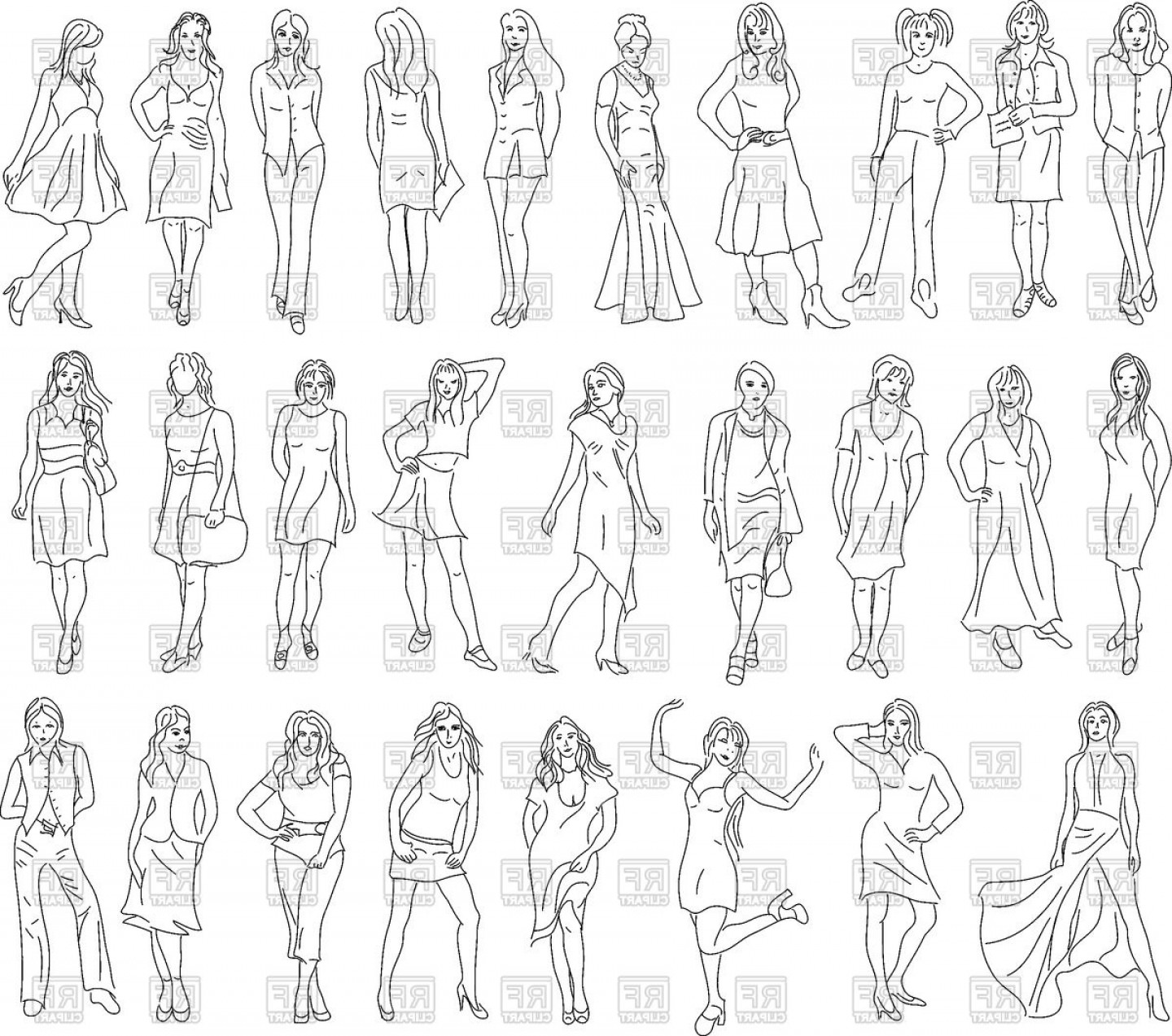 Vector Model Poses: Set Of Women Sketches Model Pose Vector Clipart