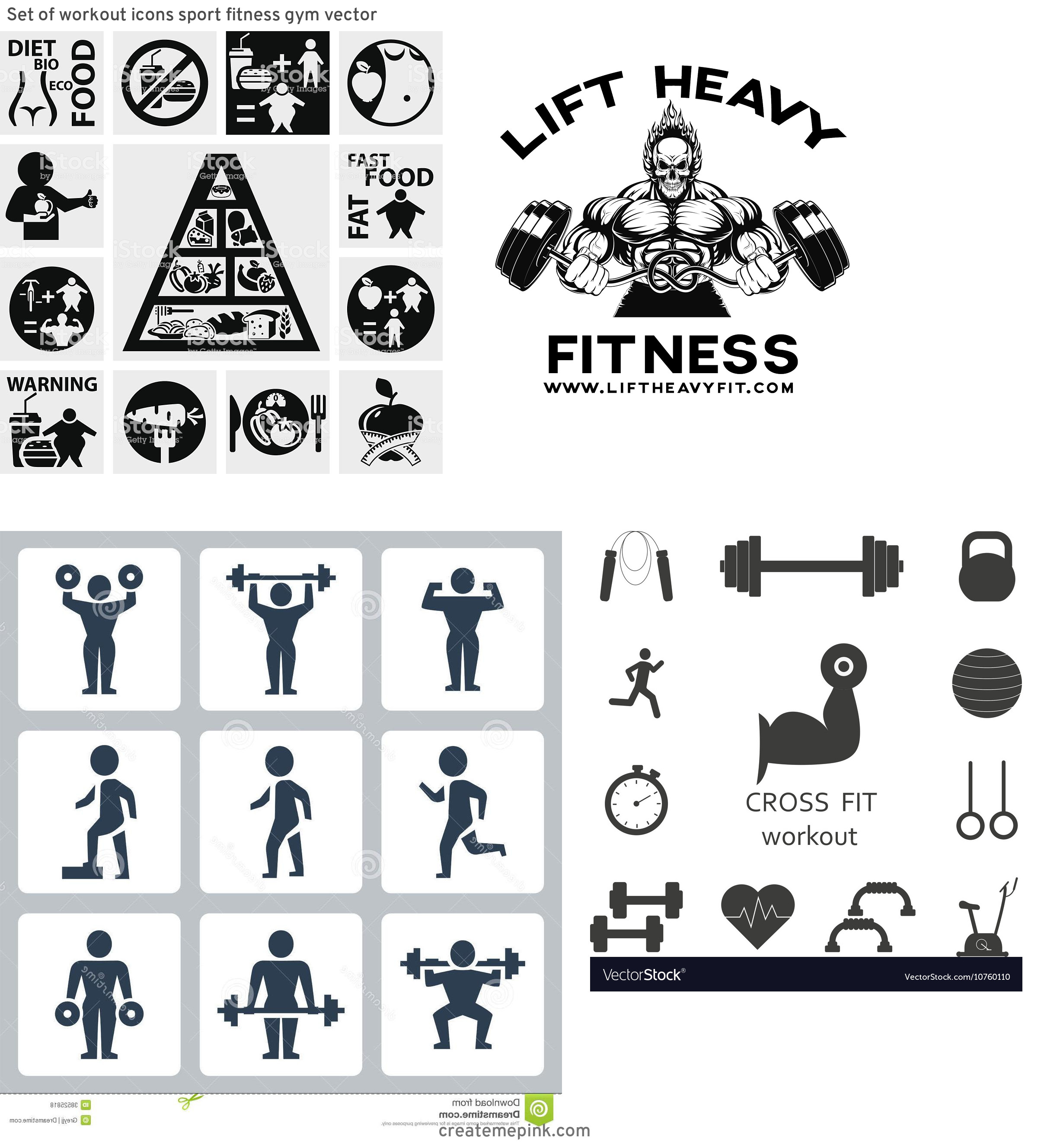 Fitness Vector Art: Set Of Workout Icons Sport Fitness Gym Vector