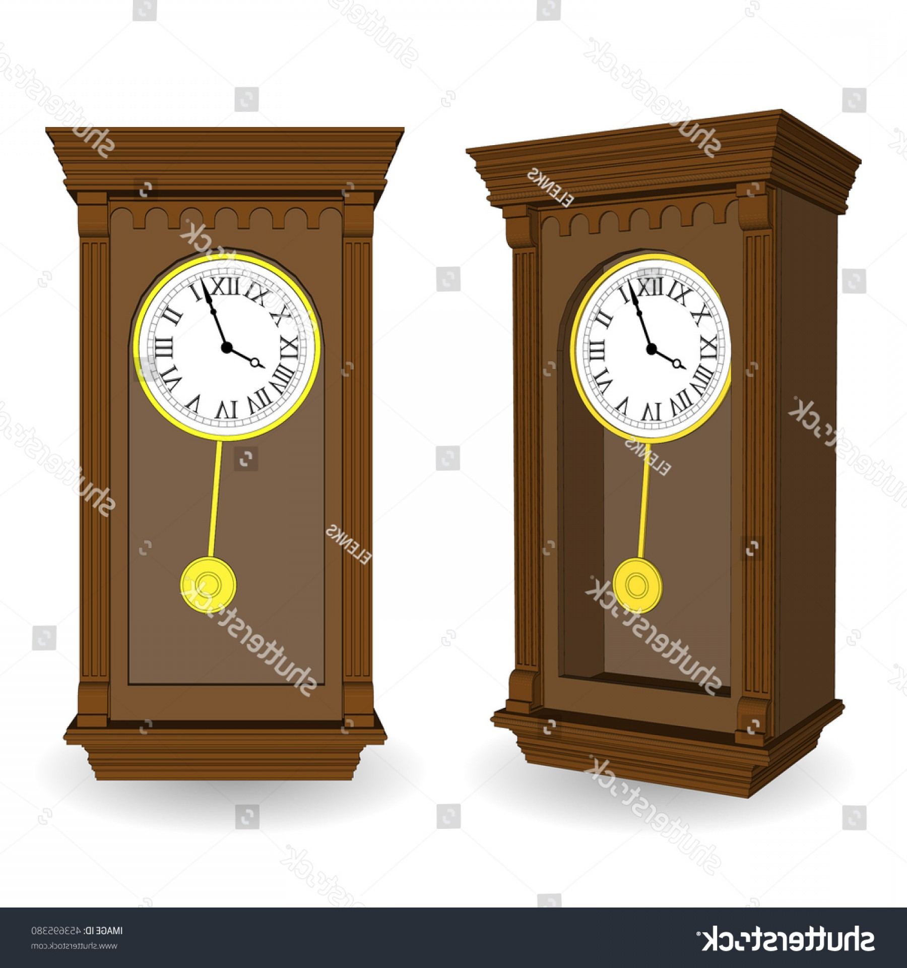 Old Floor Clock Vector: Set Old Wall Clock Pendulum Vector