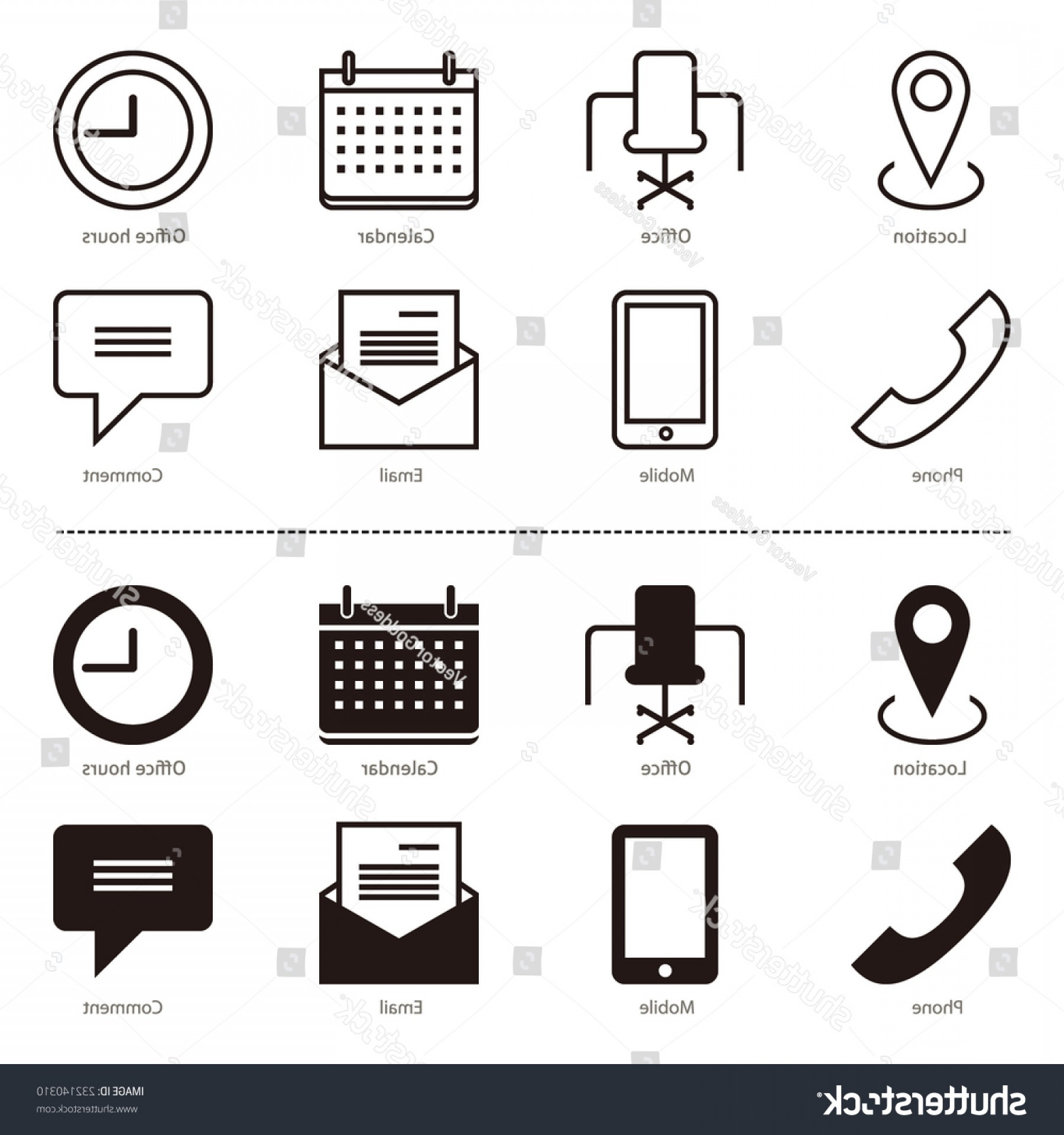 Small Email Icon Vector: Set Outline Full Black Contact Icons