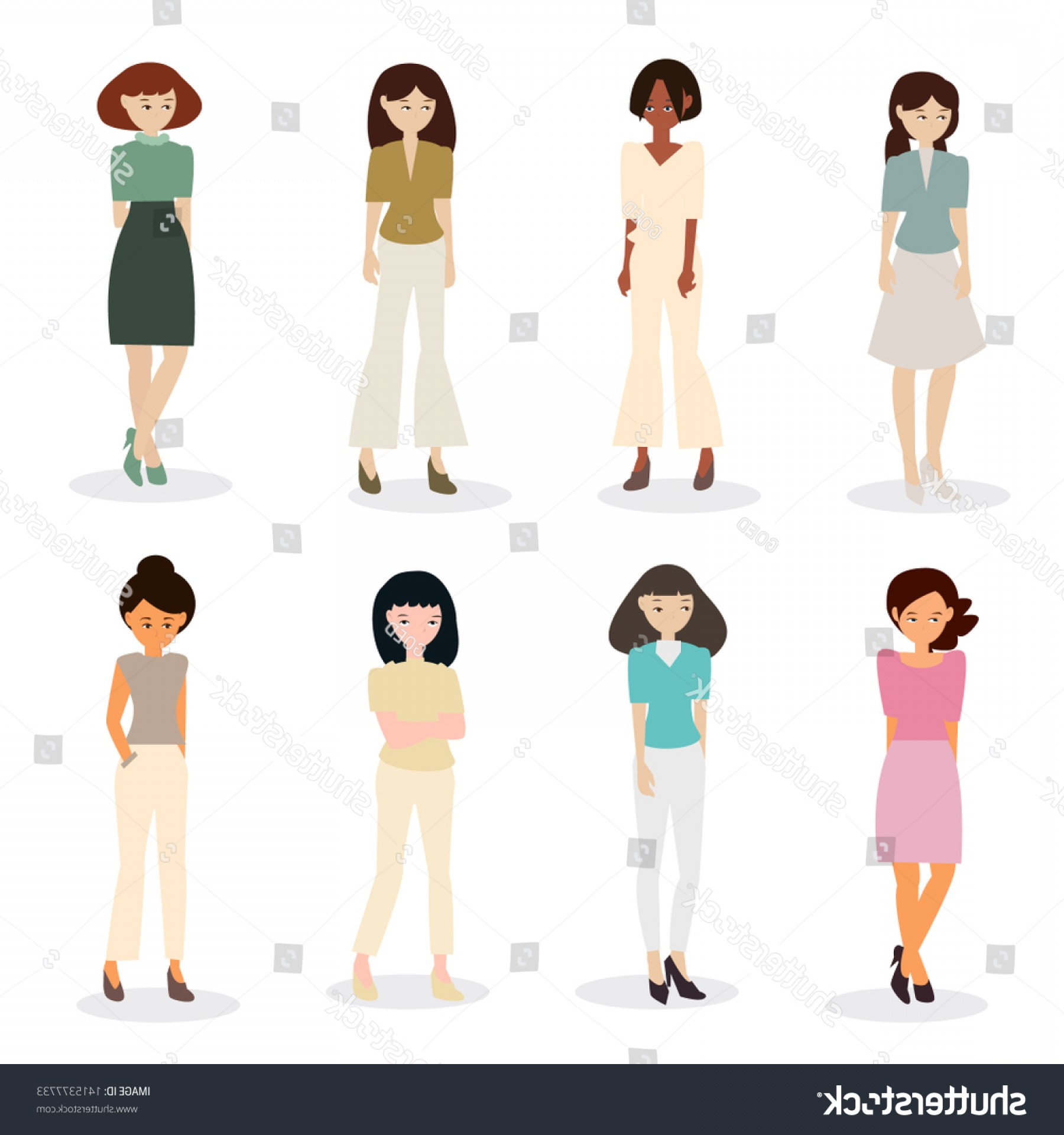 People Standing Vector: Set People Standing Vector Flat Illustration
