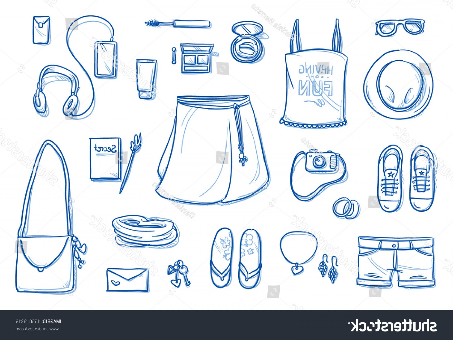 Teenage Icons Vector: Set Personal Belongings Objects Young Teenage