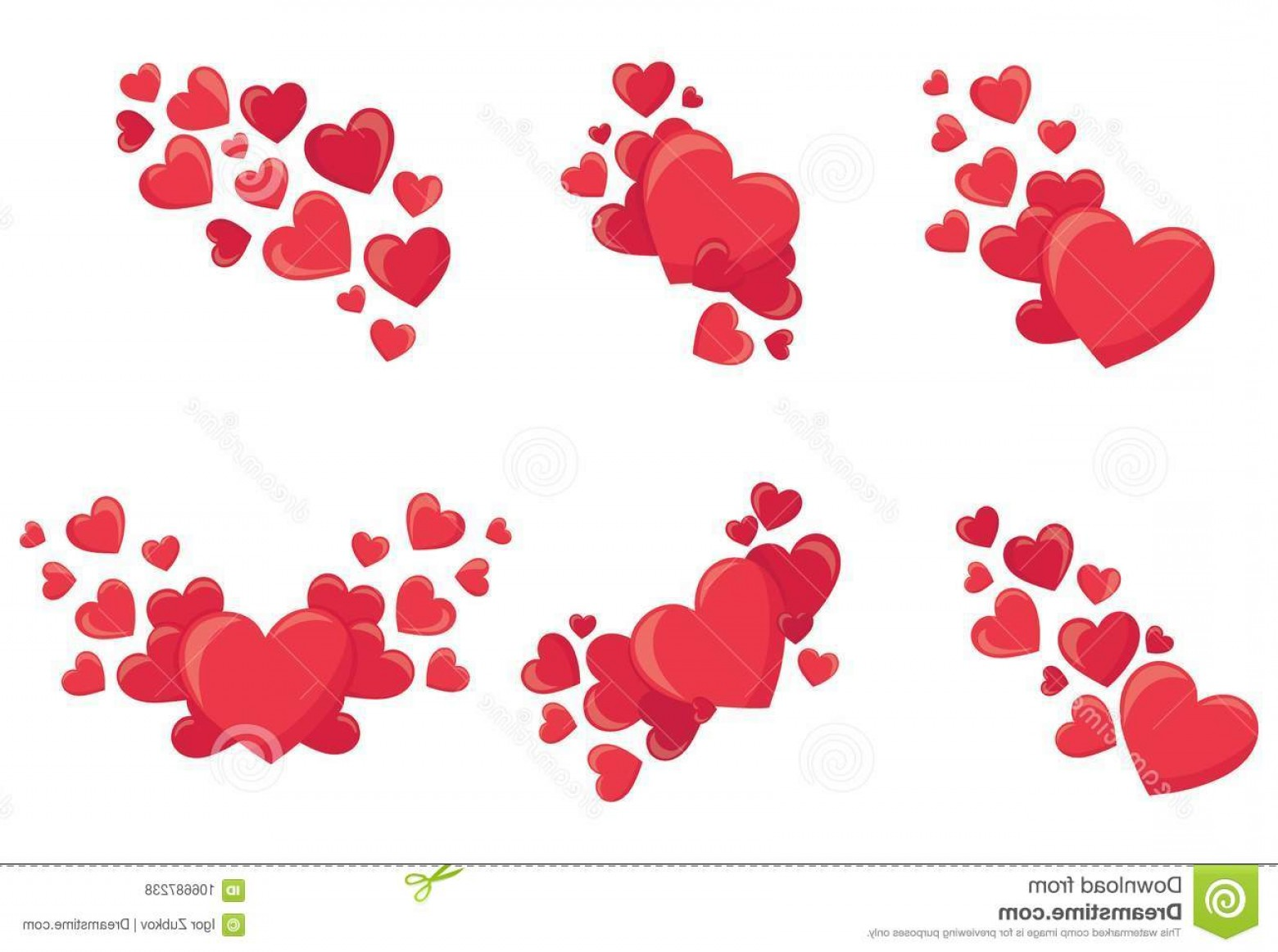 Cool Vector Hearts Pattern Symbol Pattern: Set Red Hearts Collection Stylized Patterns Symbol Love Vector Illustration Valentines Day Image