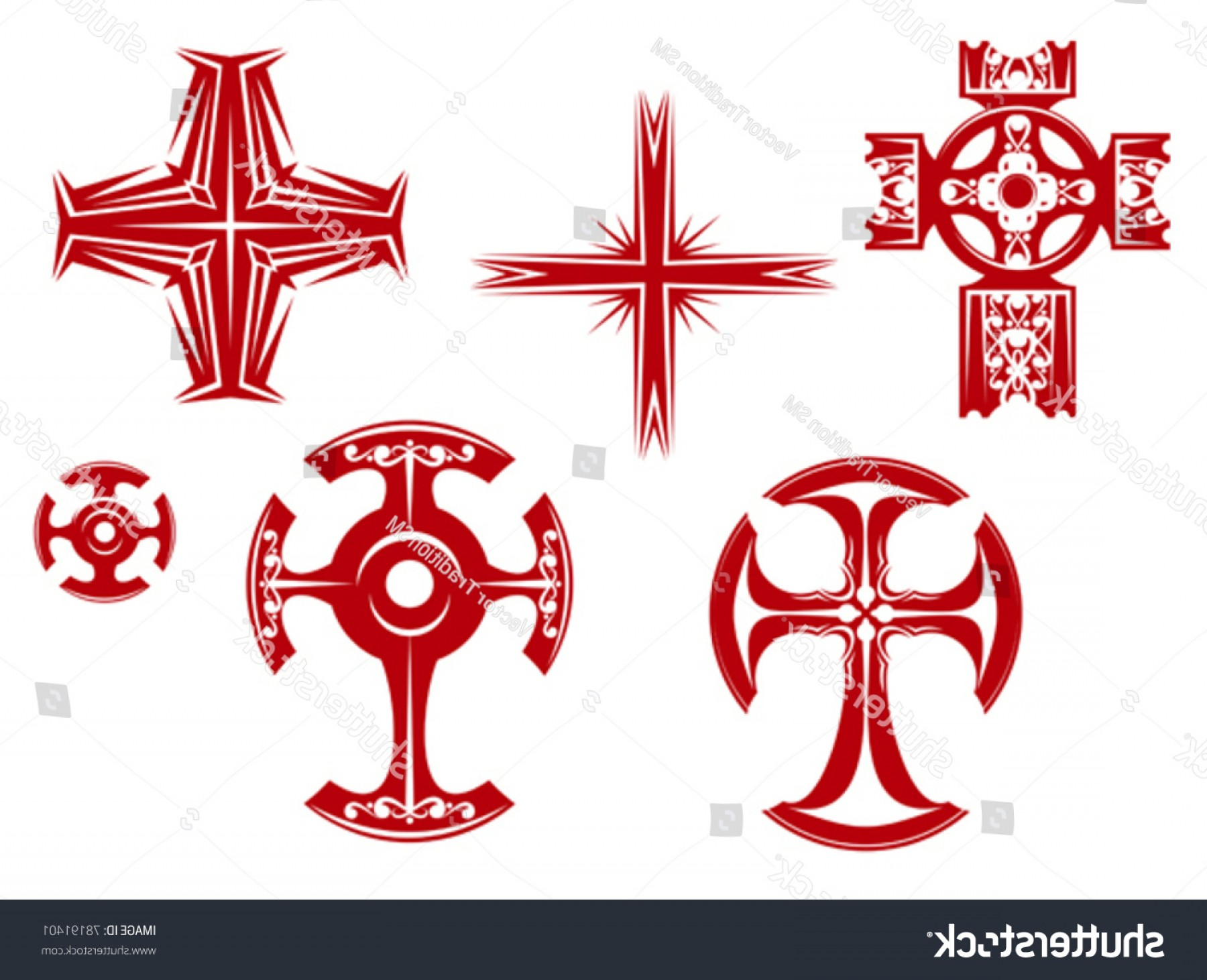 Faith Lions Vector Art Images: Set Religious Crosses Icons Religion Design