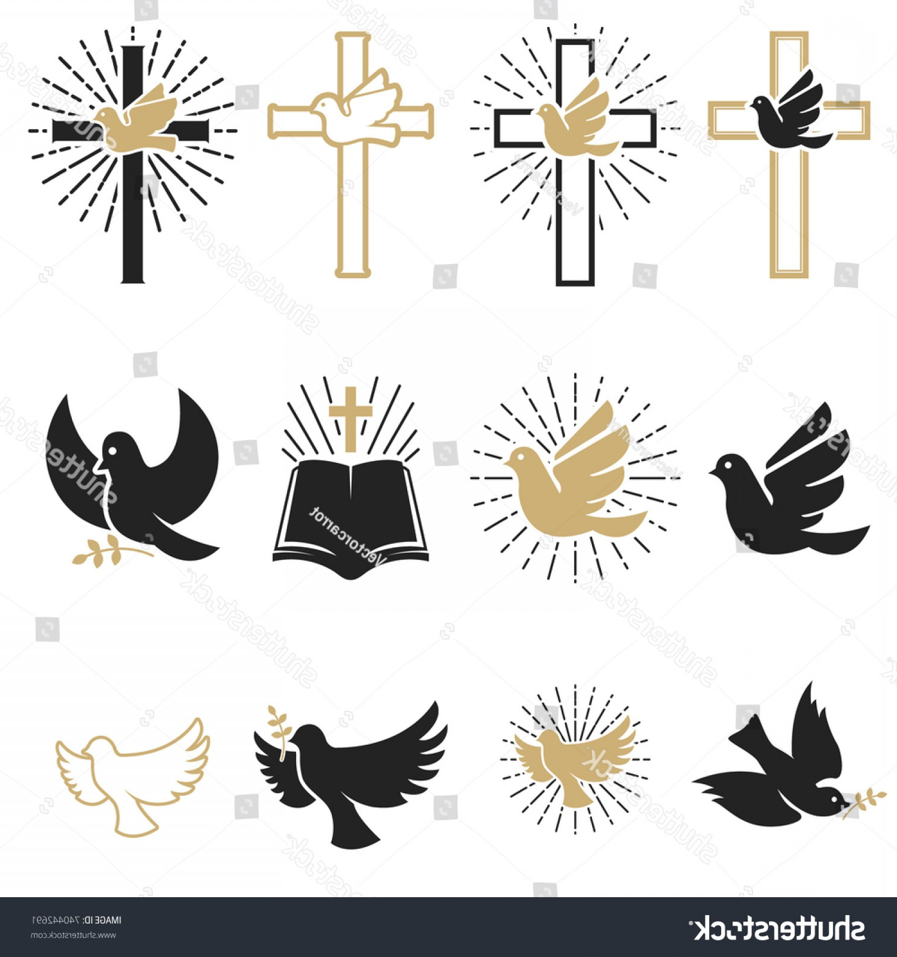 Vector Dove Restaurant: Set Religious Signs Cross Dove Holy