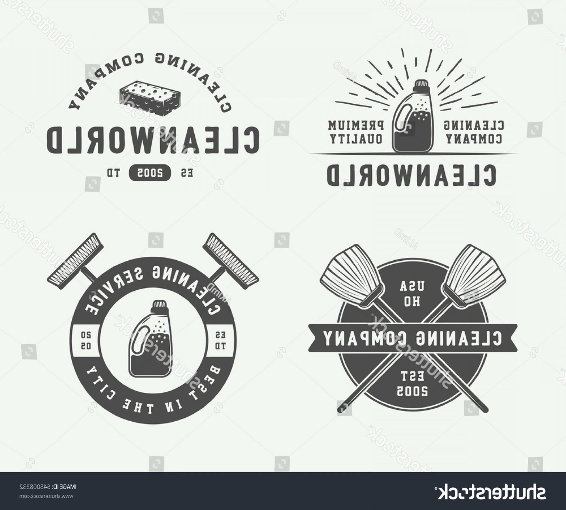 Cleaning Logo Vector Art: Set Retro Cleaning Logo Badges Emblems