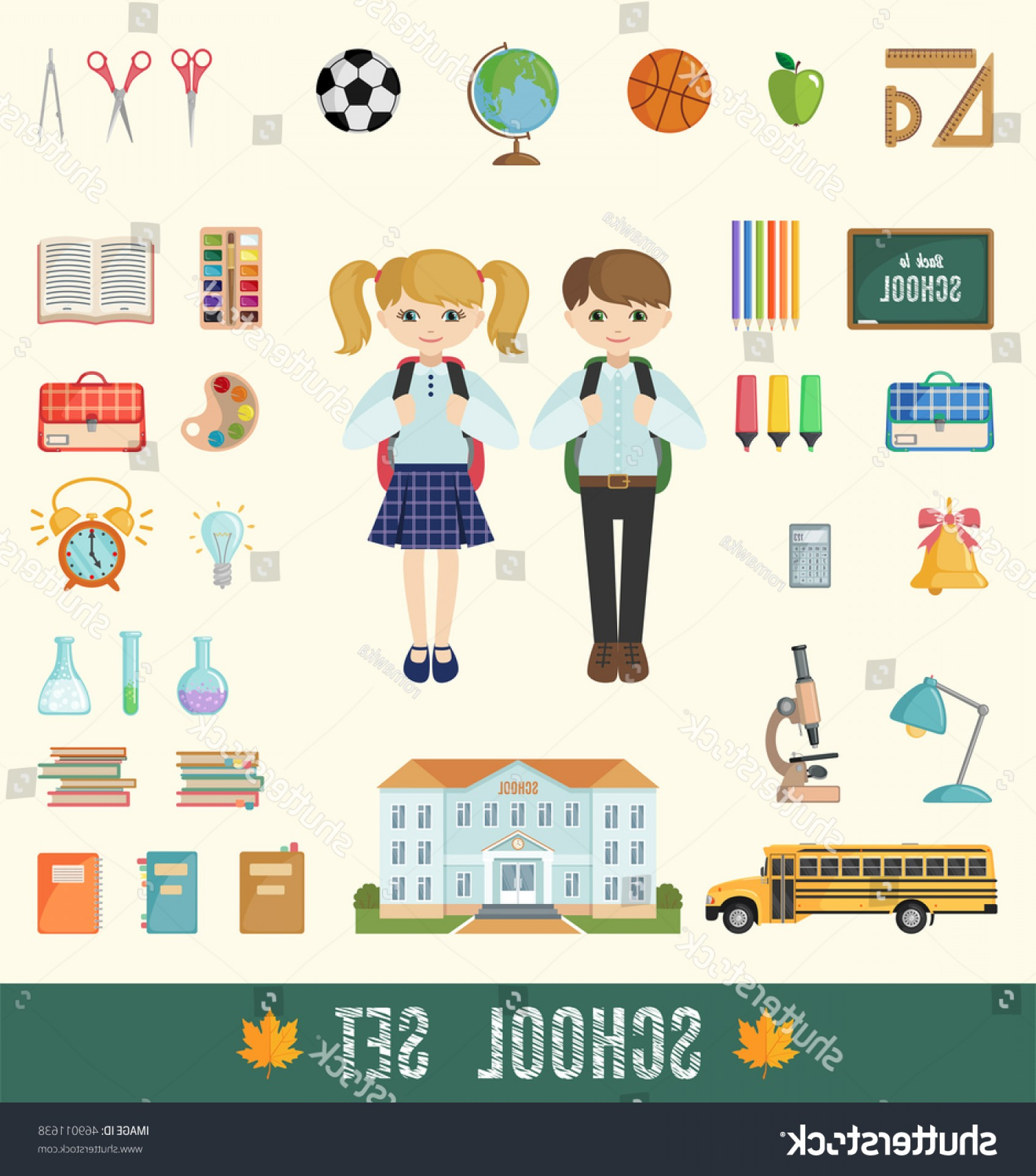Individual School Supplies Vector: Set School Icons Flat Style Selection