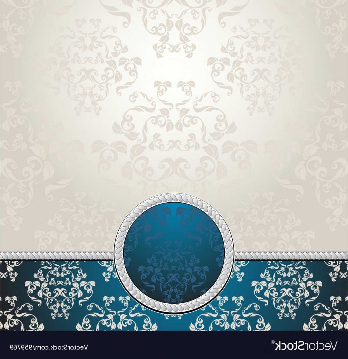 Aqua Victorian Vectors: Set Seamless Patterns With Flowers In Victorian Vector