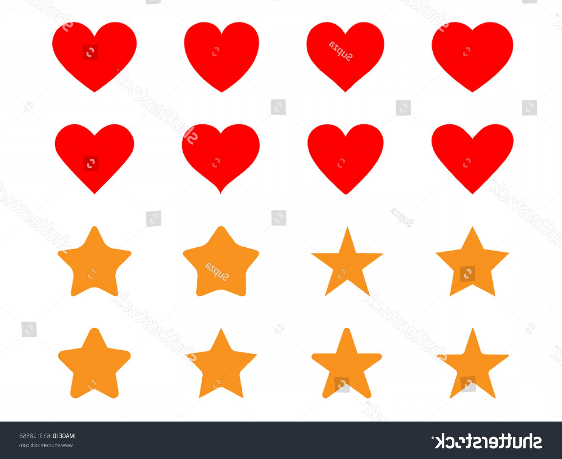 Vectors Heart And Star: Set Simple Heart Star Icon