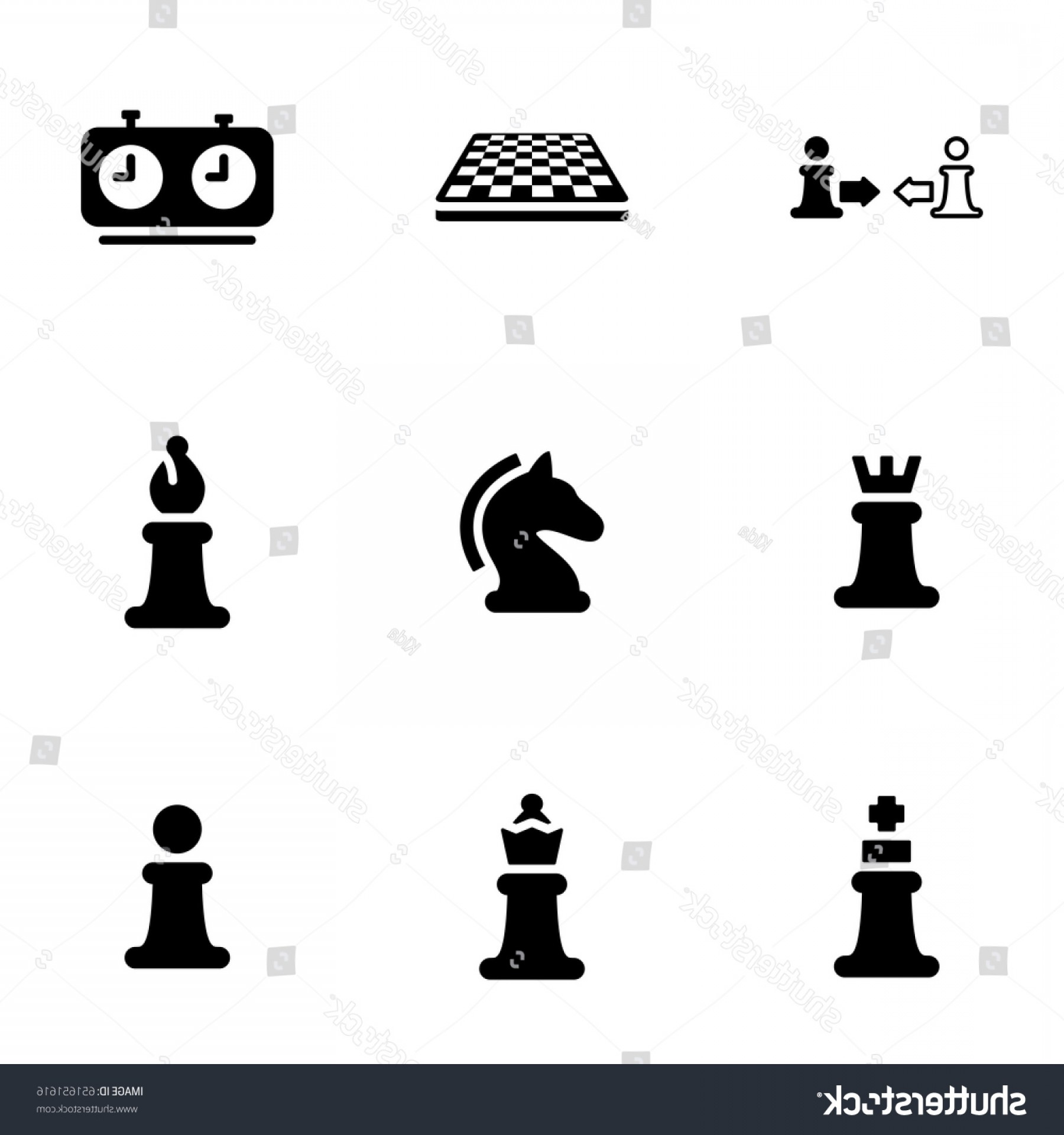 Chess Vector Background: Set Simple Icons On Theme Game