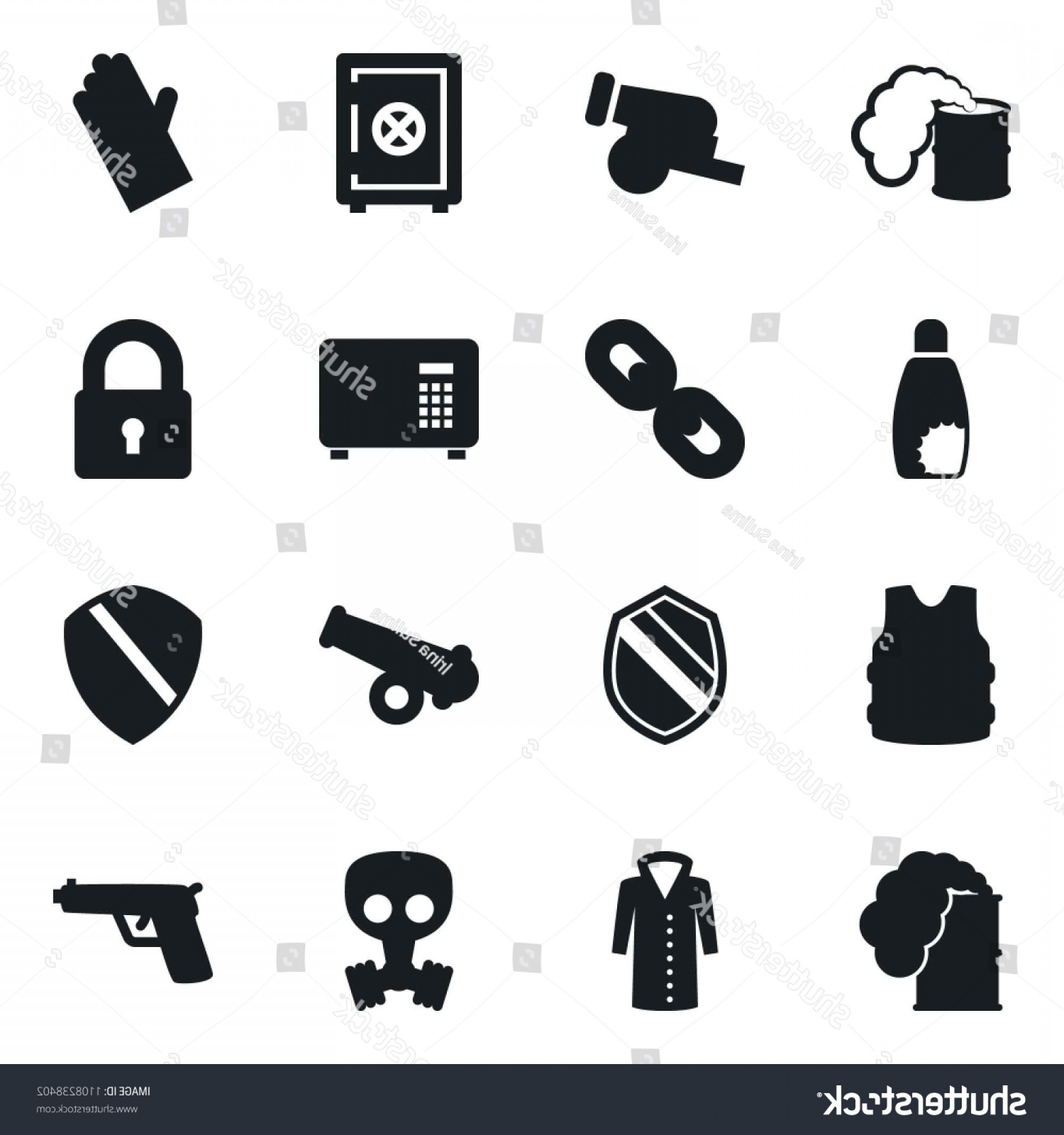 Chain And Lock Glove Vector: Set Simple Vector Isolated Icons Rubber