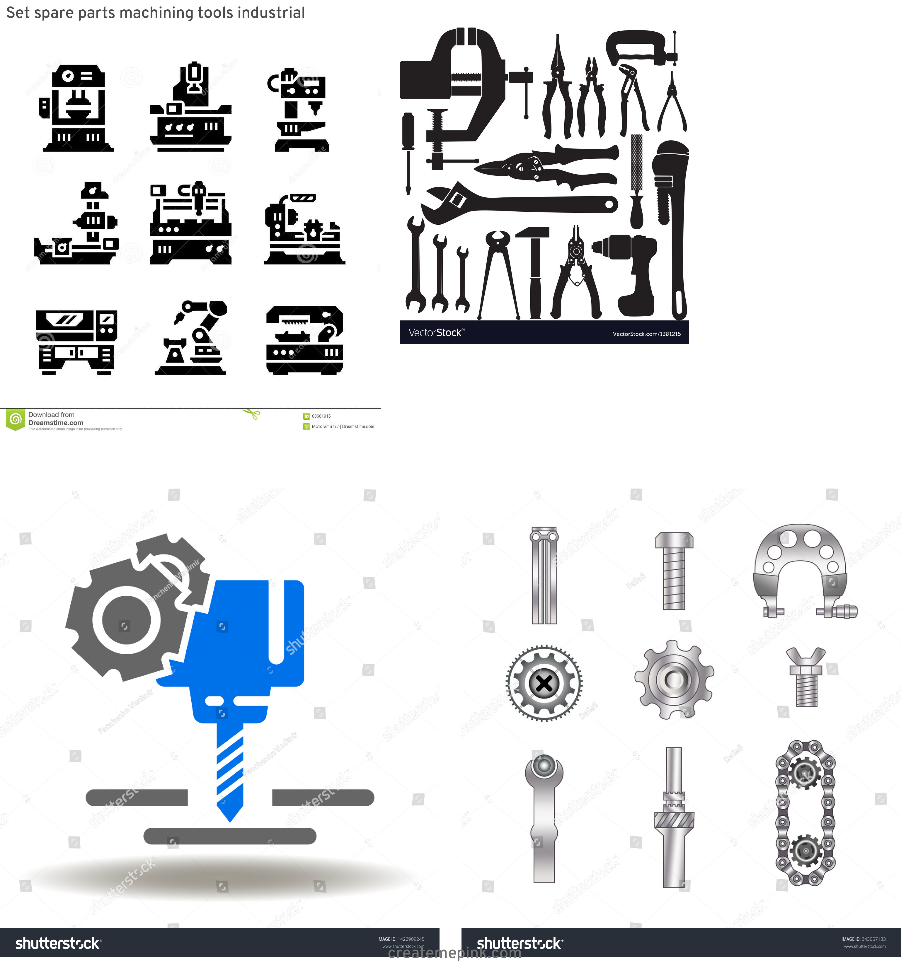 Machinist Tools Vector Logo: Set Spare Parts Machining Tools Industrial