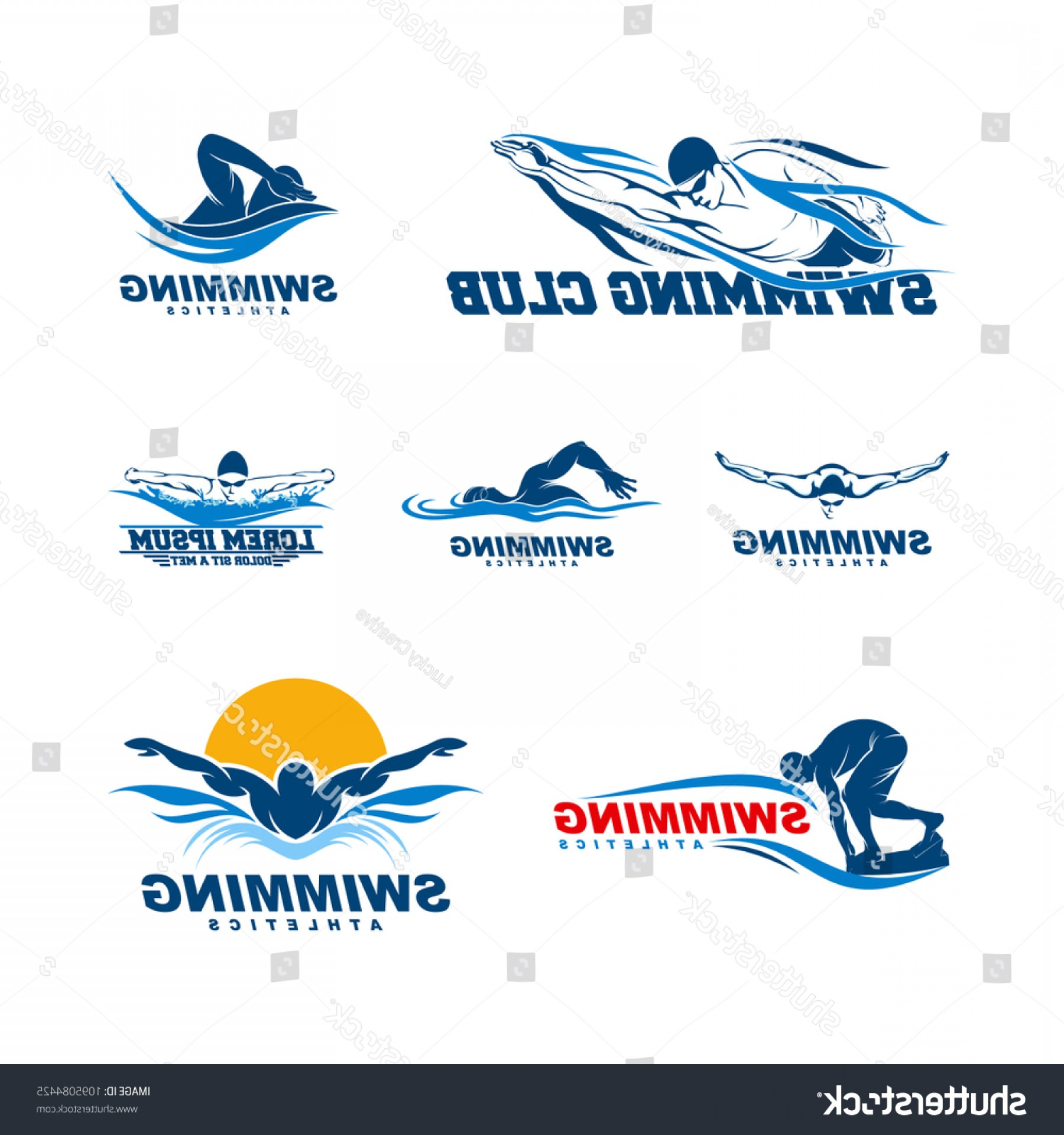 Mets Logo Vector: Set Swimming Logo Designs Vector Creative