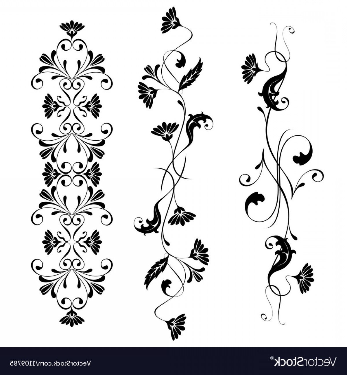Flower Elements Vector: Set Swirling Decorative Floral Elements Vector