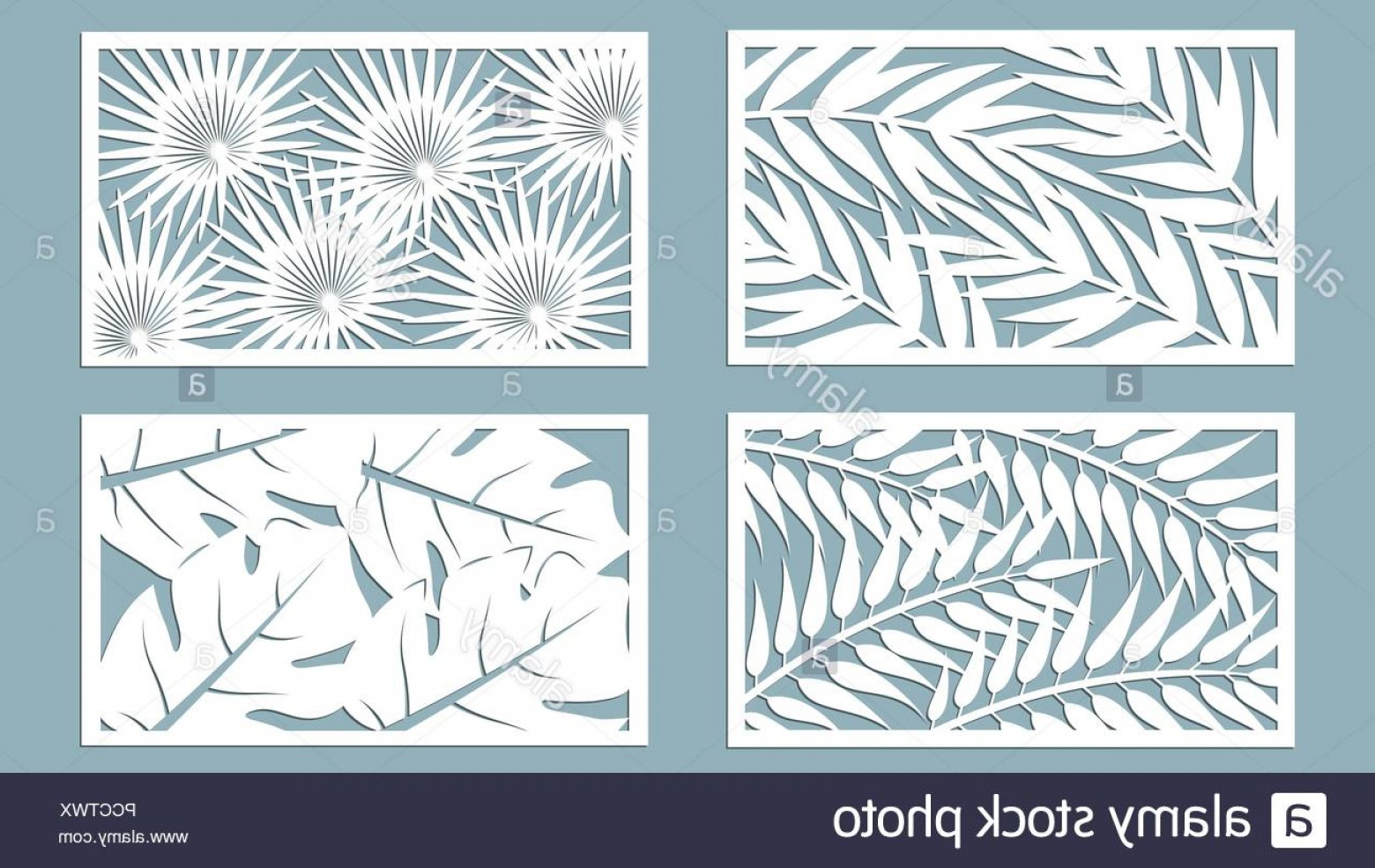 Laser Vector Art: Set Template For Cutting Palm Leaves Pattern Laser Cut Vector Illustration Image