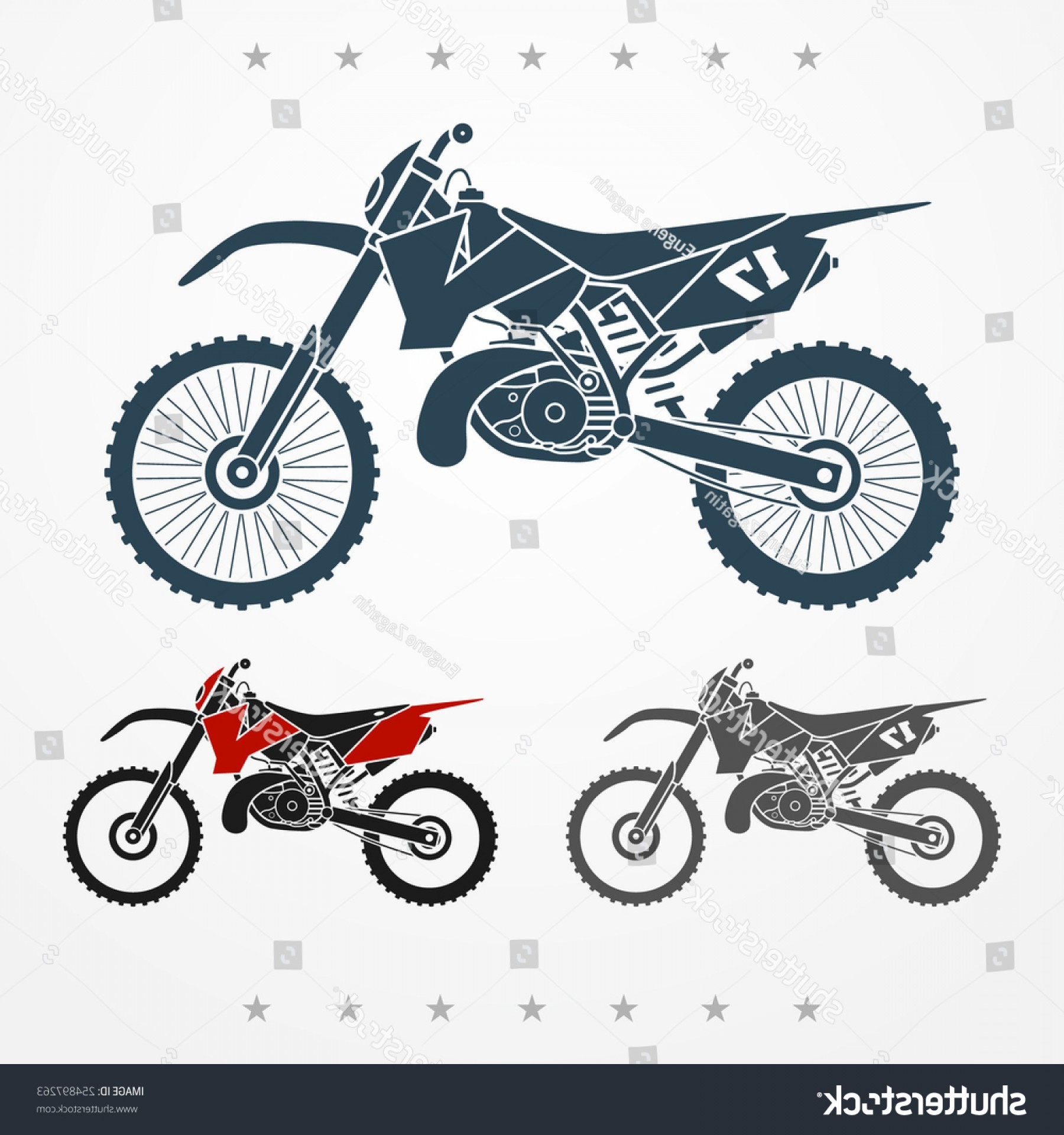 Dirt Bike Gas Can Vector: Set Three Cross Twostroke Flat Looking