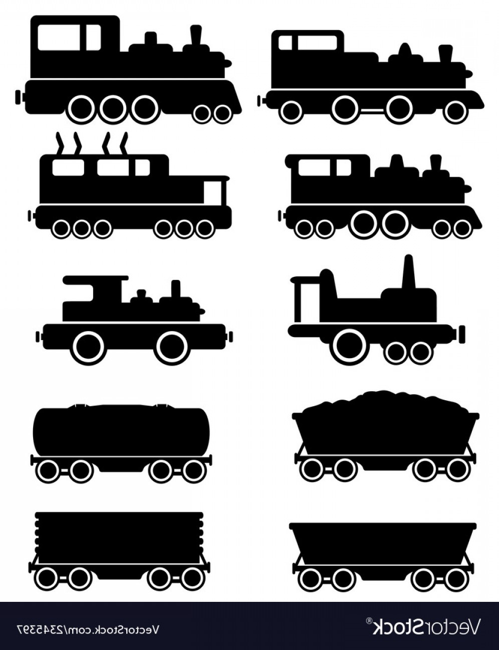 Vector Train Wheel: Set Train And Railroad Car Vector