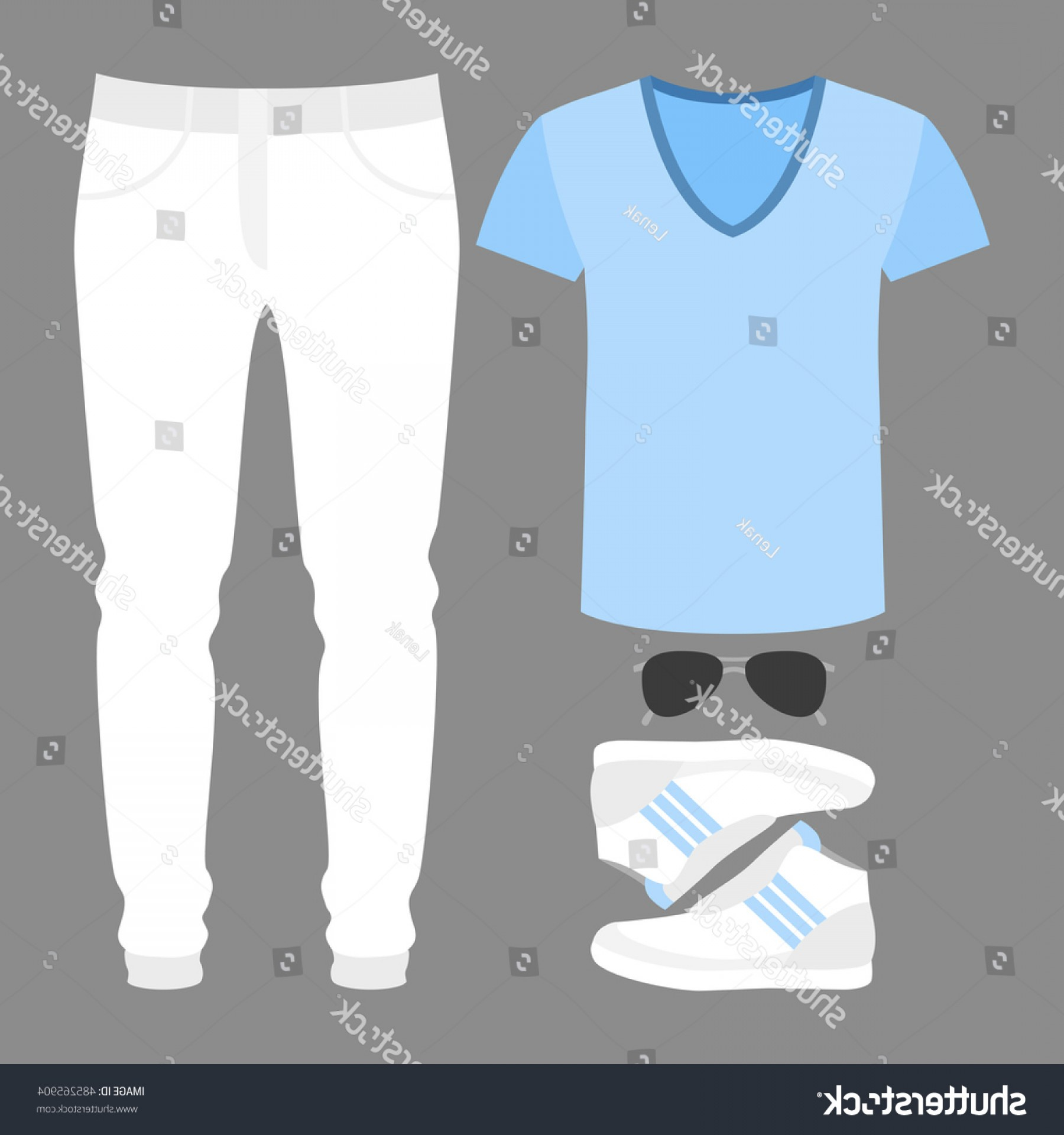 Vector Pocket Silhouette Shirt: Set Trendy Mens Clothes Jeans Tshirt