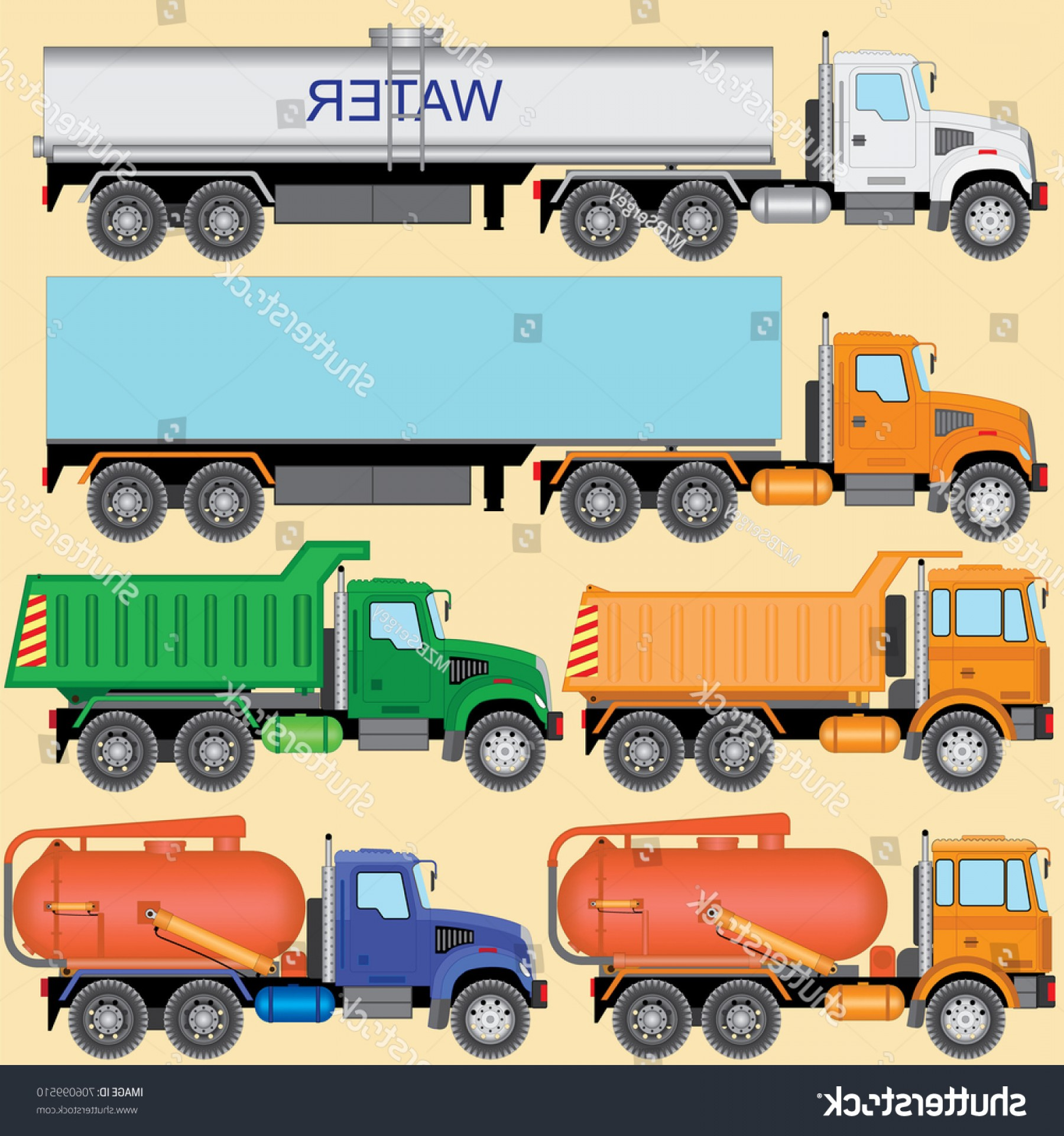 Vector Vacuum Trailer: Set Truck Car Carrier Tractor Dump