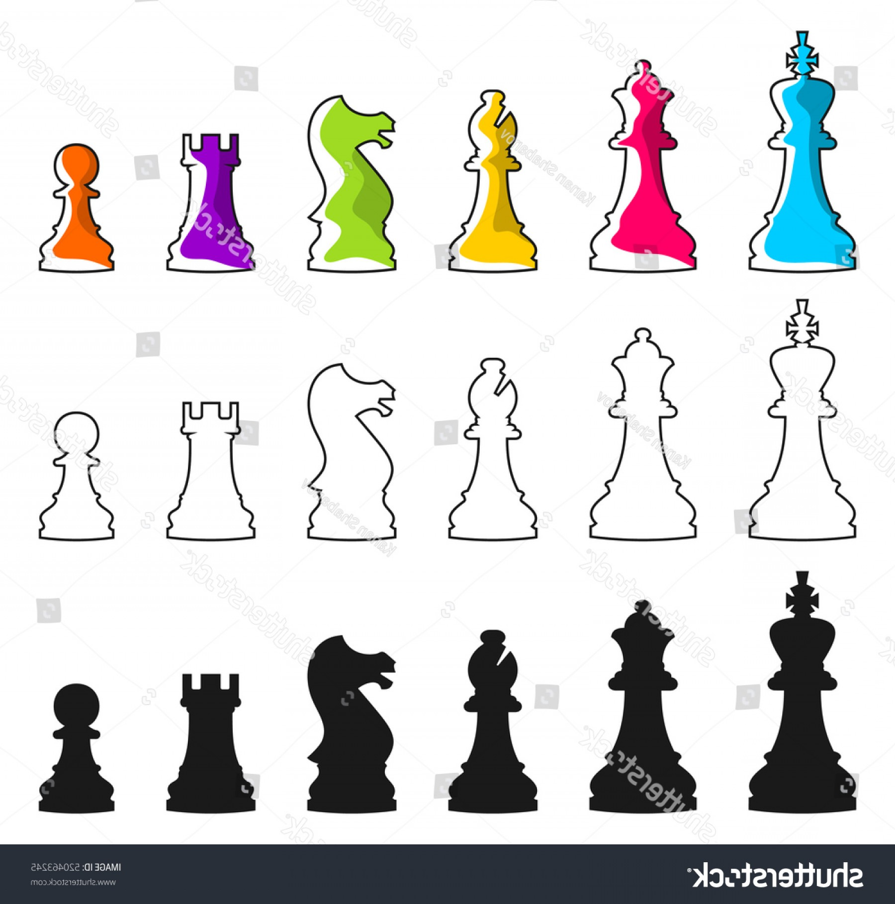 Chess Vector Background: Set Vector Chess Icons Isolated On