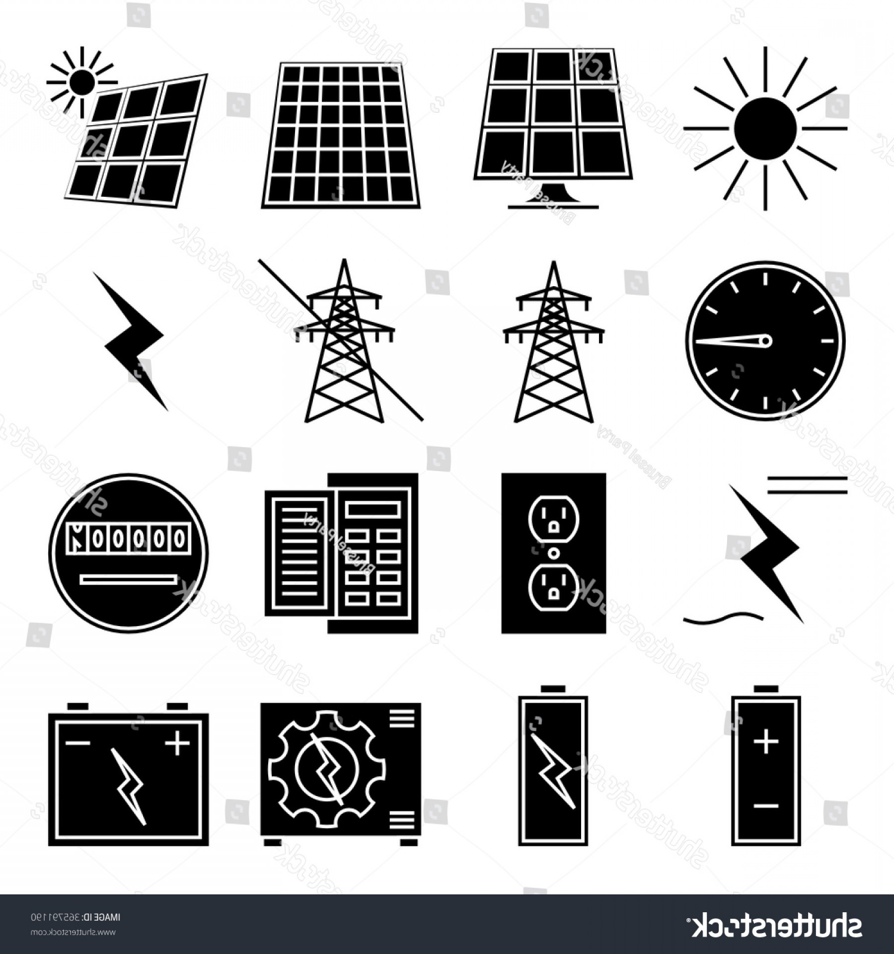 Solar Icon Vector: Set Vector Icon Solar Power