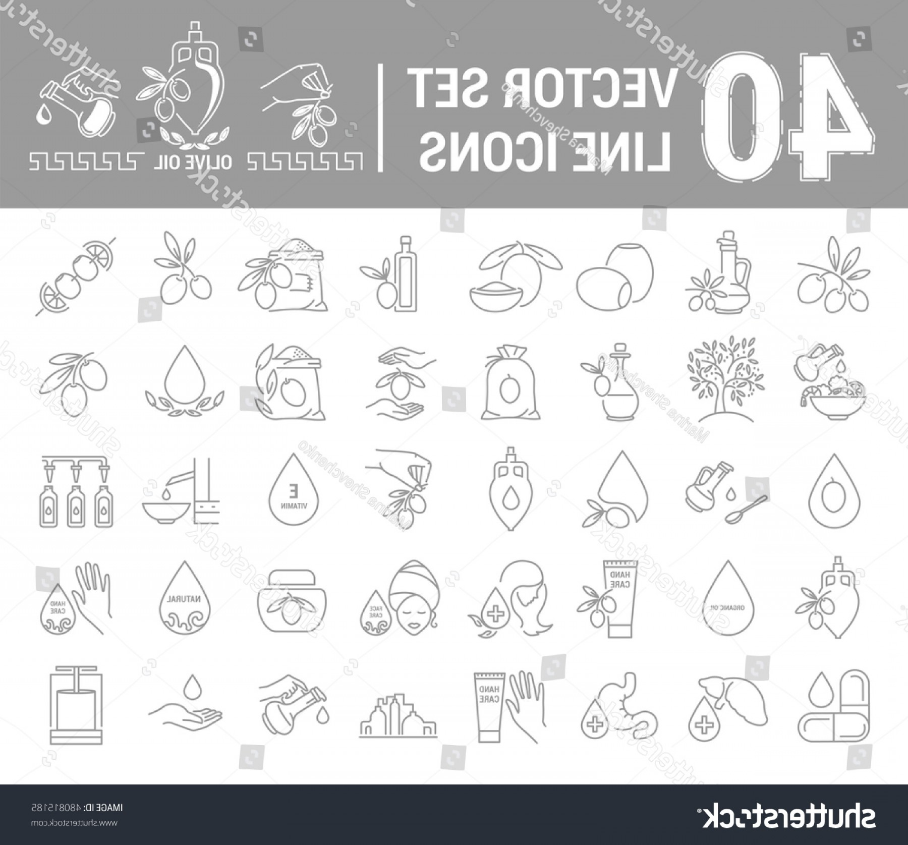 Gear Vector Icons Large: Set Vector Icons Graphic Thin Outline
