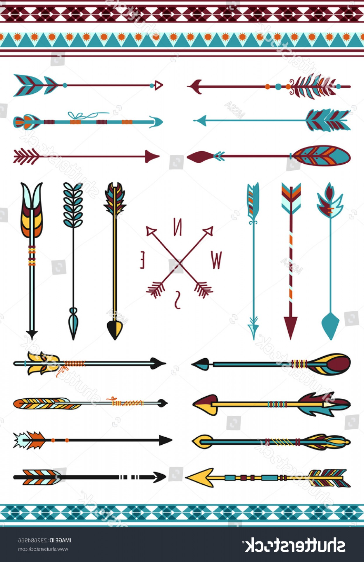 Vector Boho Arrow Strength: Set Vector Indian Arrows Different Shapes