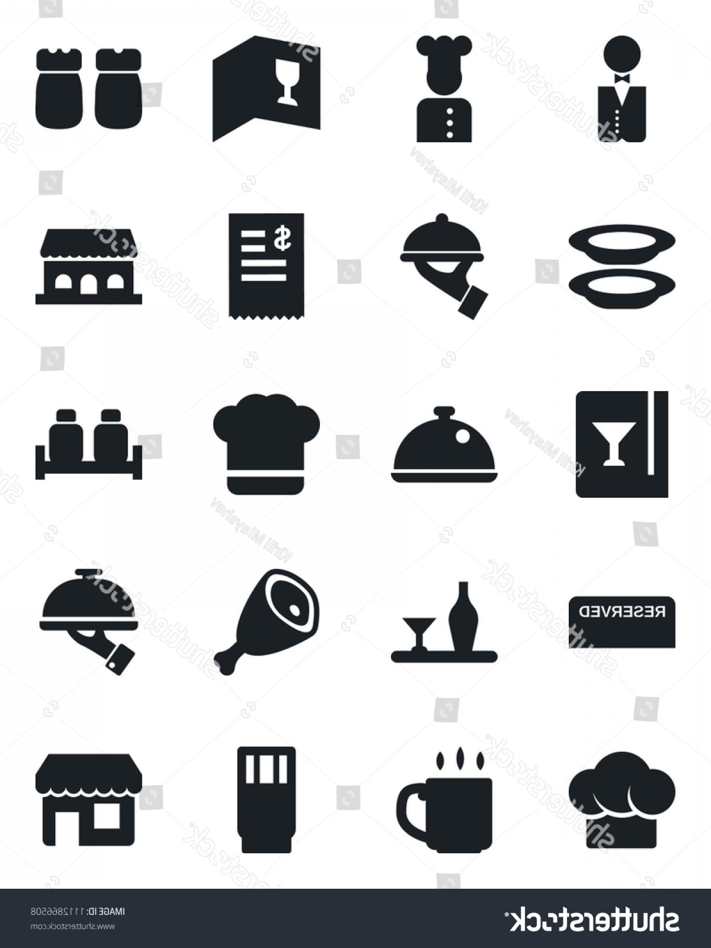 Vector Waiter Coffee: Set Vector Isolated Black Icon Coffee