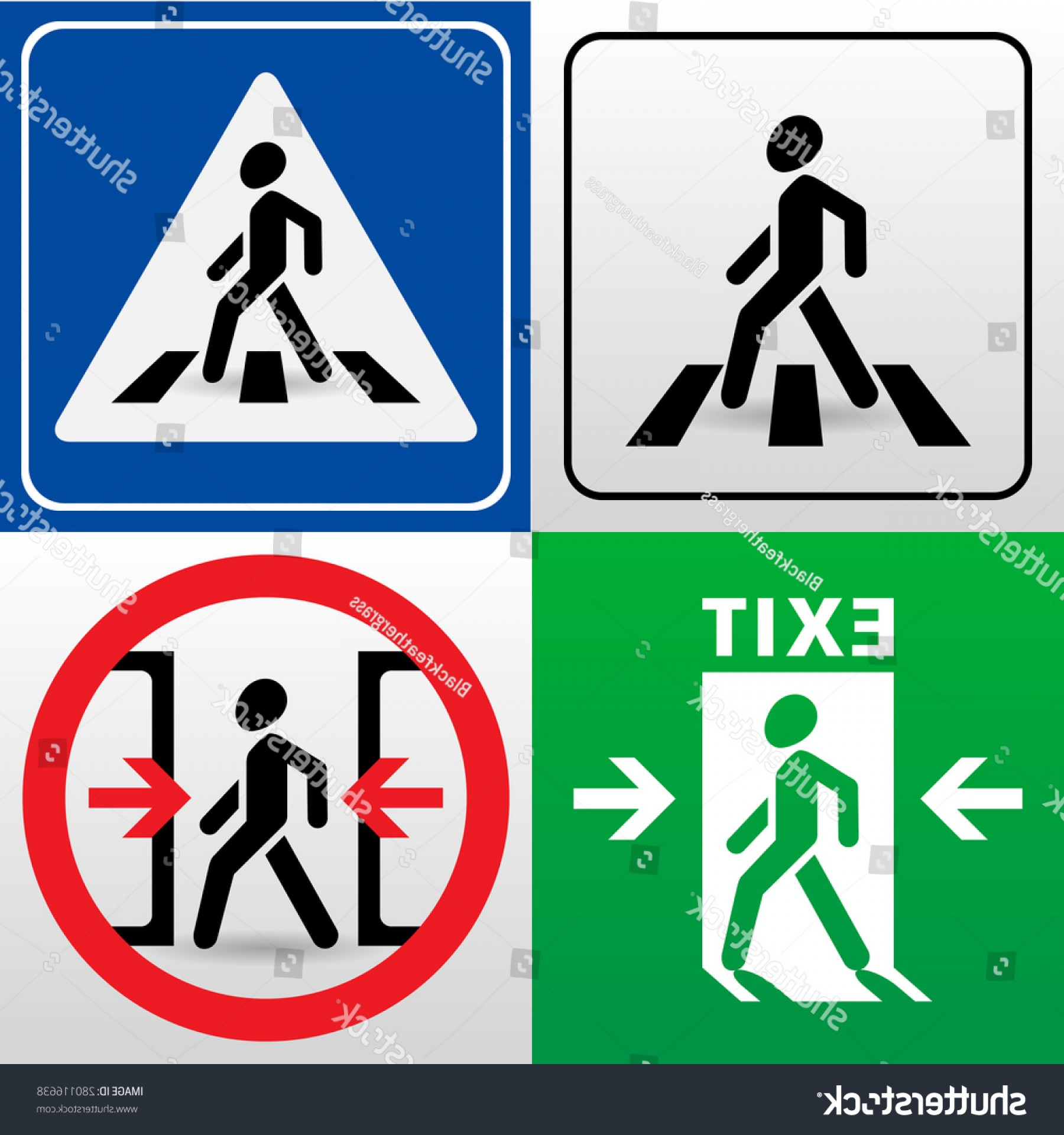 Road Sign Silhouette Vector Bear: Set Vector Signs Walking Man Silhouettes