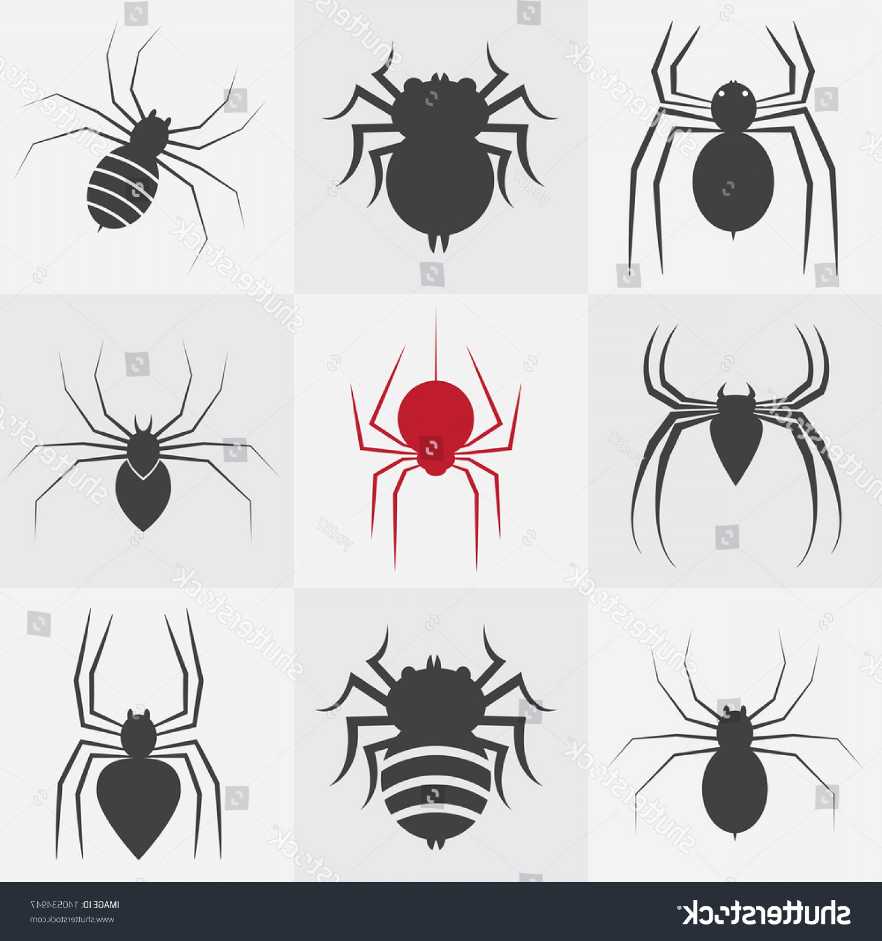 Easy Spider Vector Illustration: Set Vector Spider Icons Design On