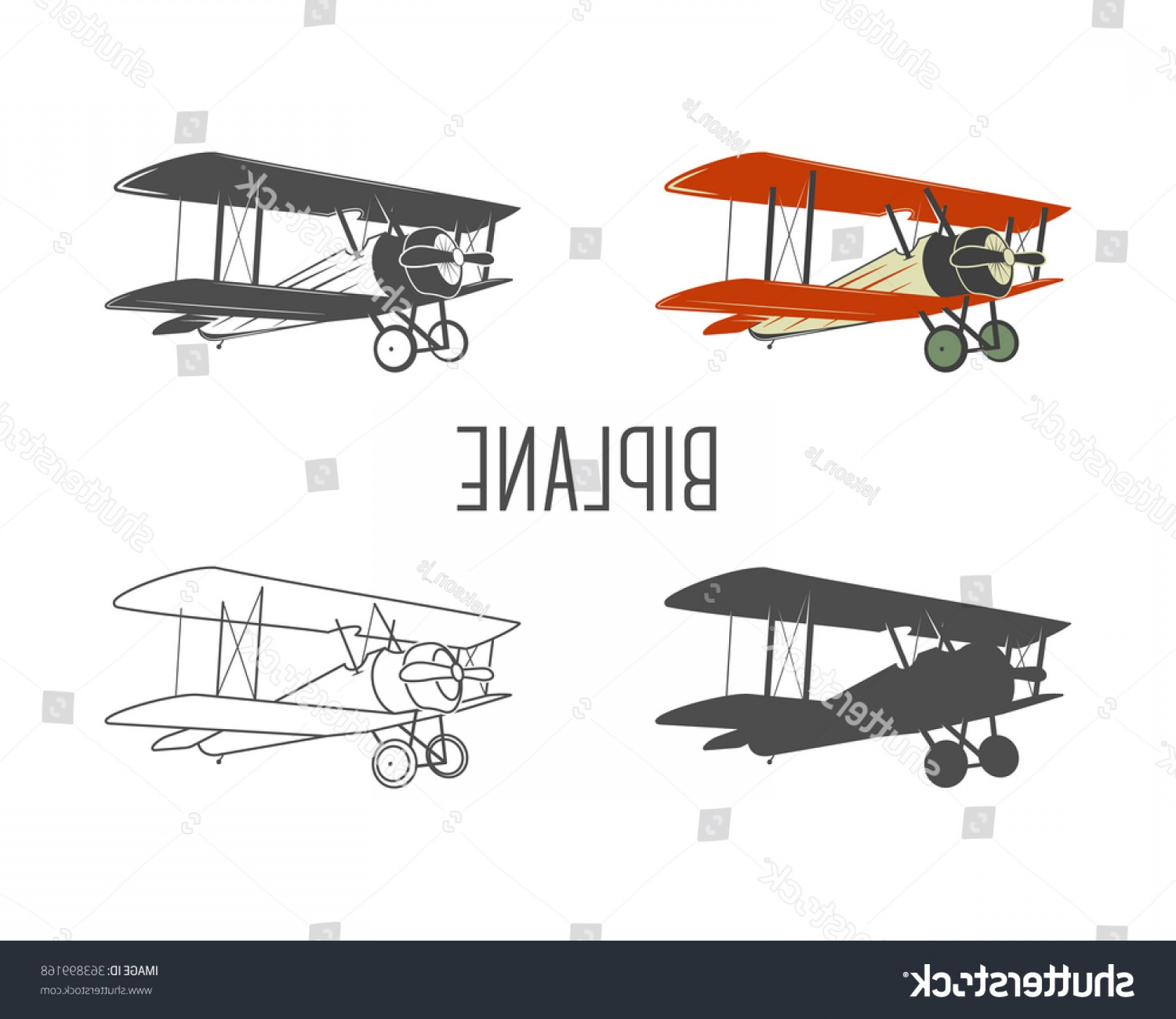 Old School Airplane Fighter Silhouette Vector: Set Vintage Aircraft Design Elements Retro