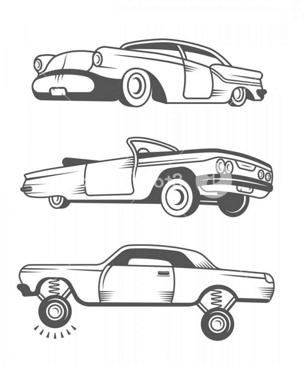 Old Impala Logo Vector: Set Vintage Lowrider Cars And Elements Design Collection Black And White Classic And Old Retro Car Stock Vector Bsedqenxgmjbzqdz